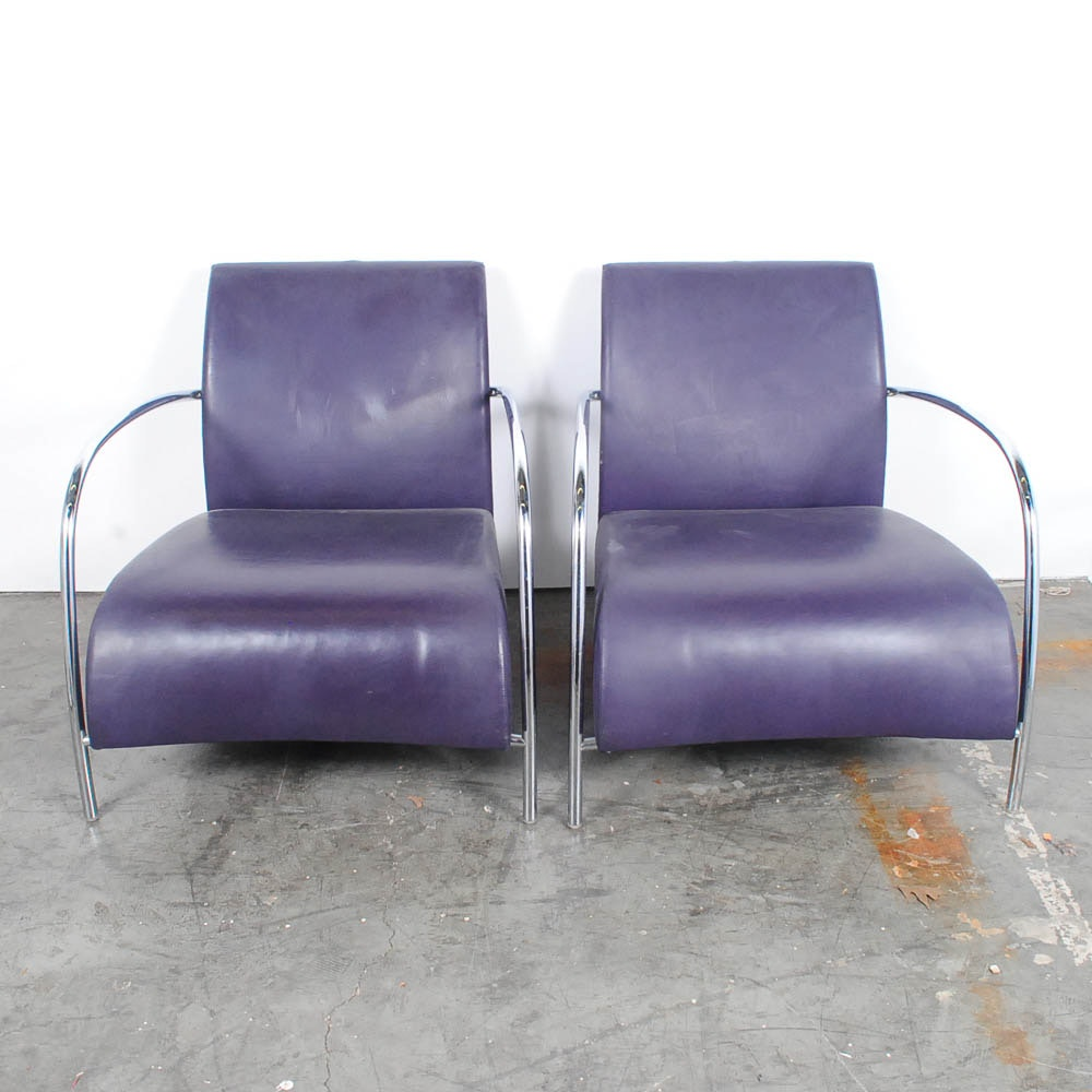 Pair of Modern Faux Purple Leather and Chrome Chairs