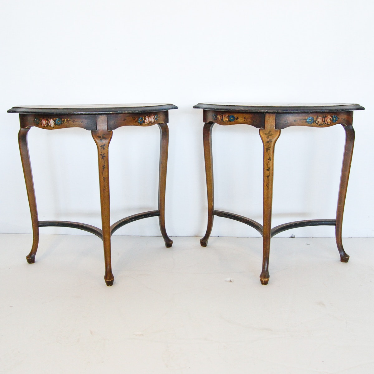 Distress Painted Demilune Accent Tables