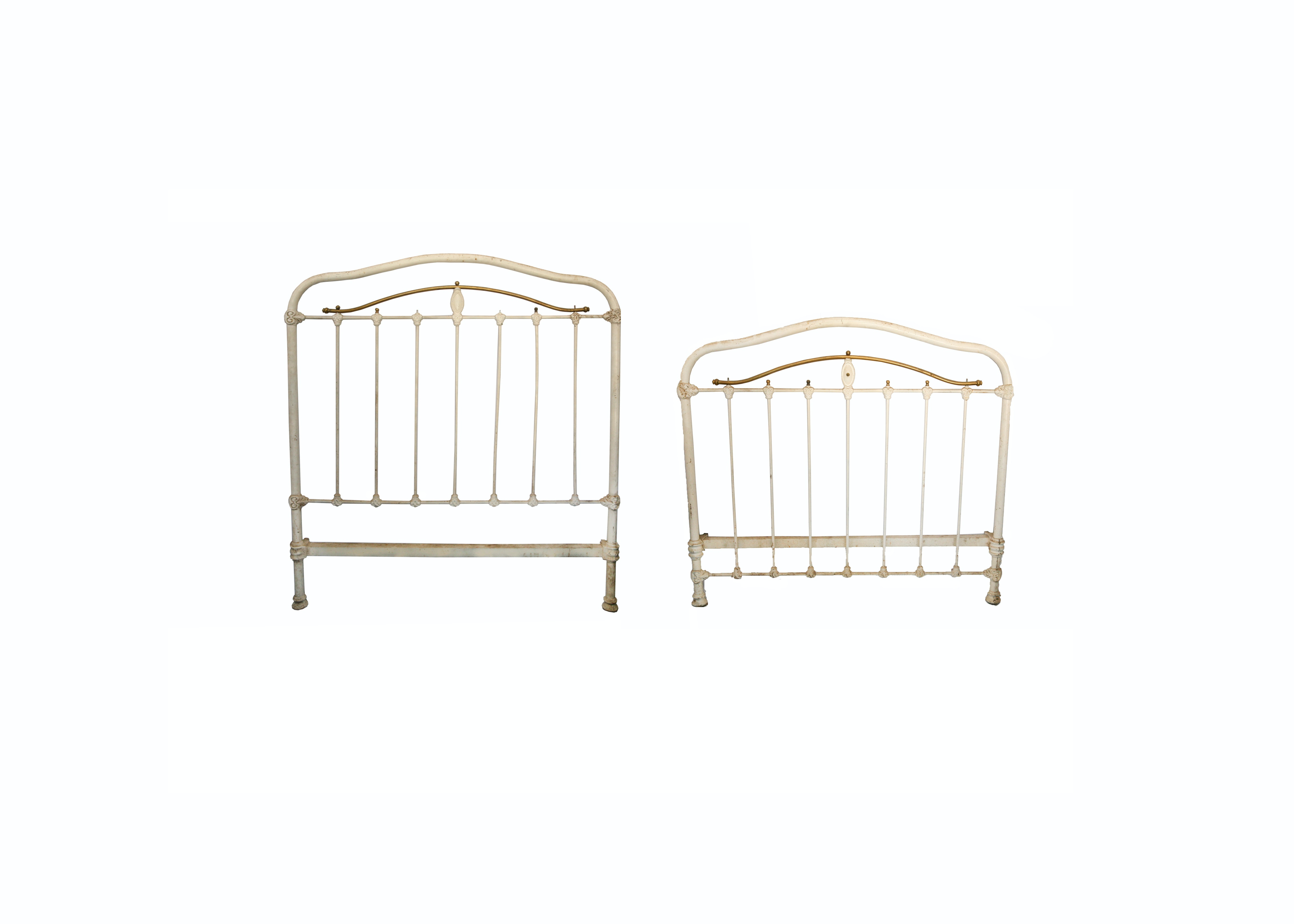 Antique Three-Quarter Size Cast Iron Bed Frame