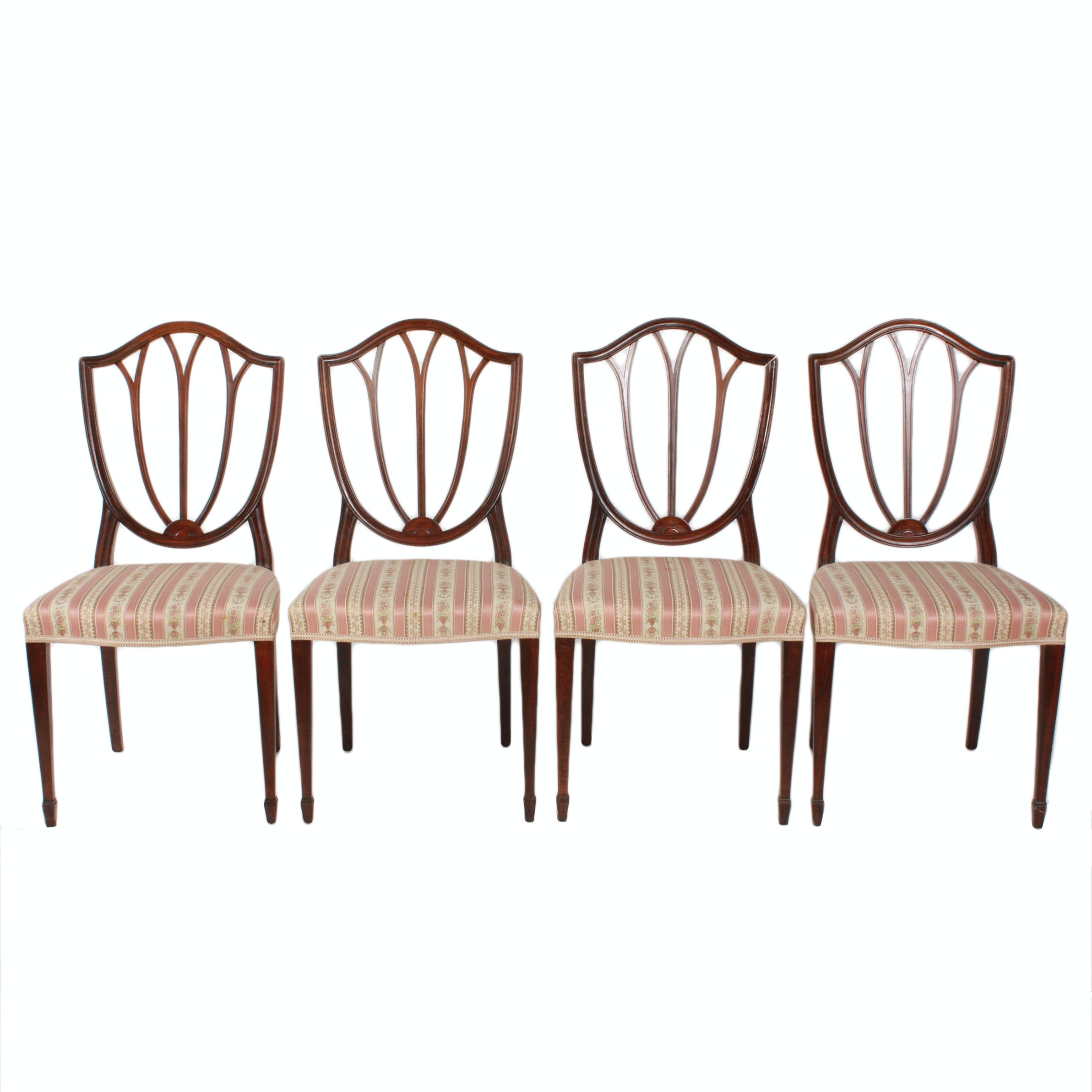 Four Vintage Hepplewhite Style Mahogany Dining Chairs