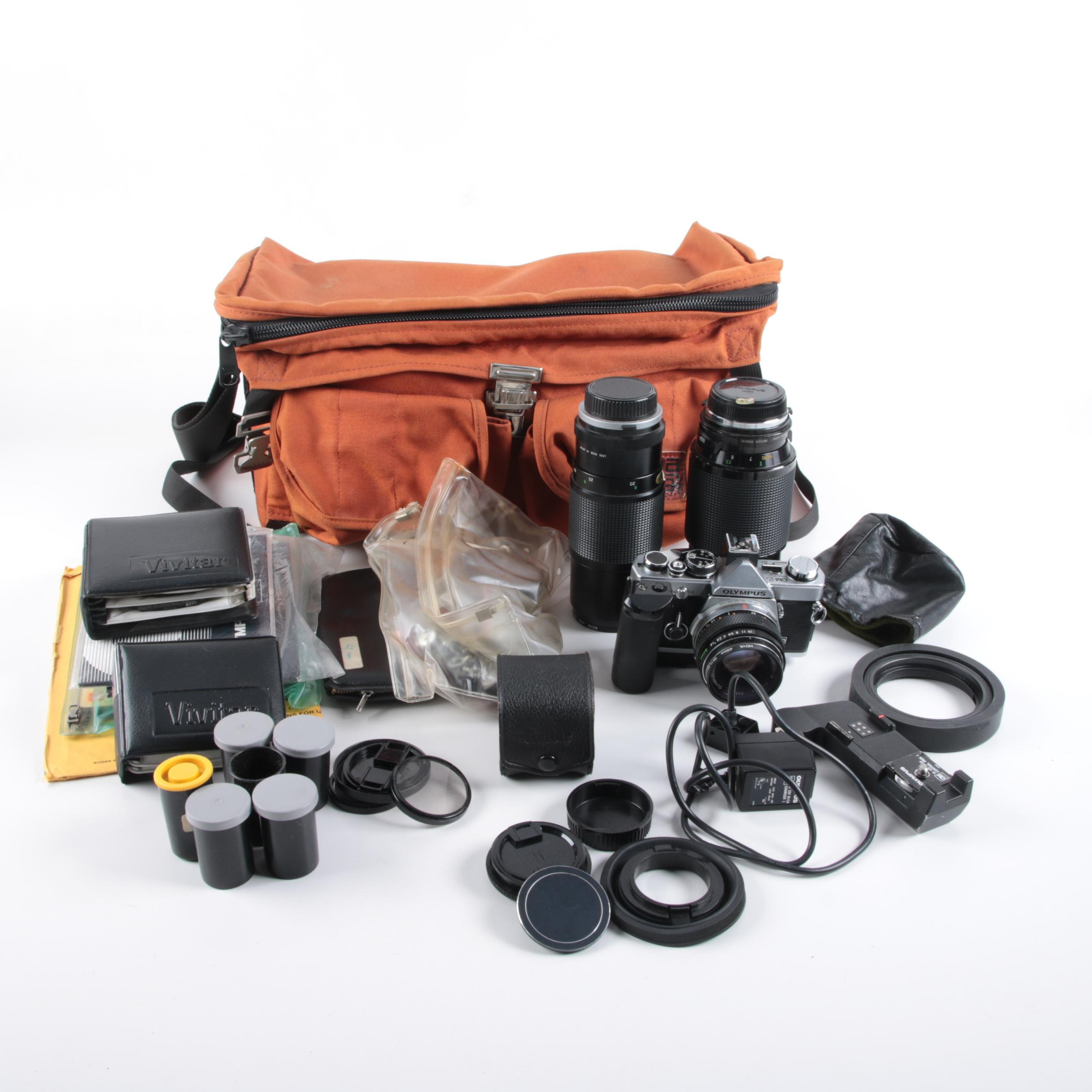 Vintage Olympus OM-2 SLR Camera with Accessories
