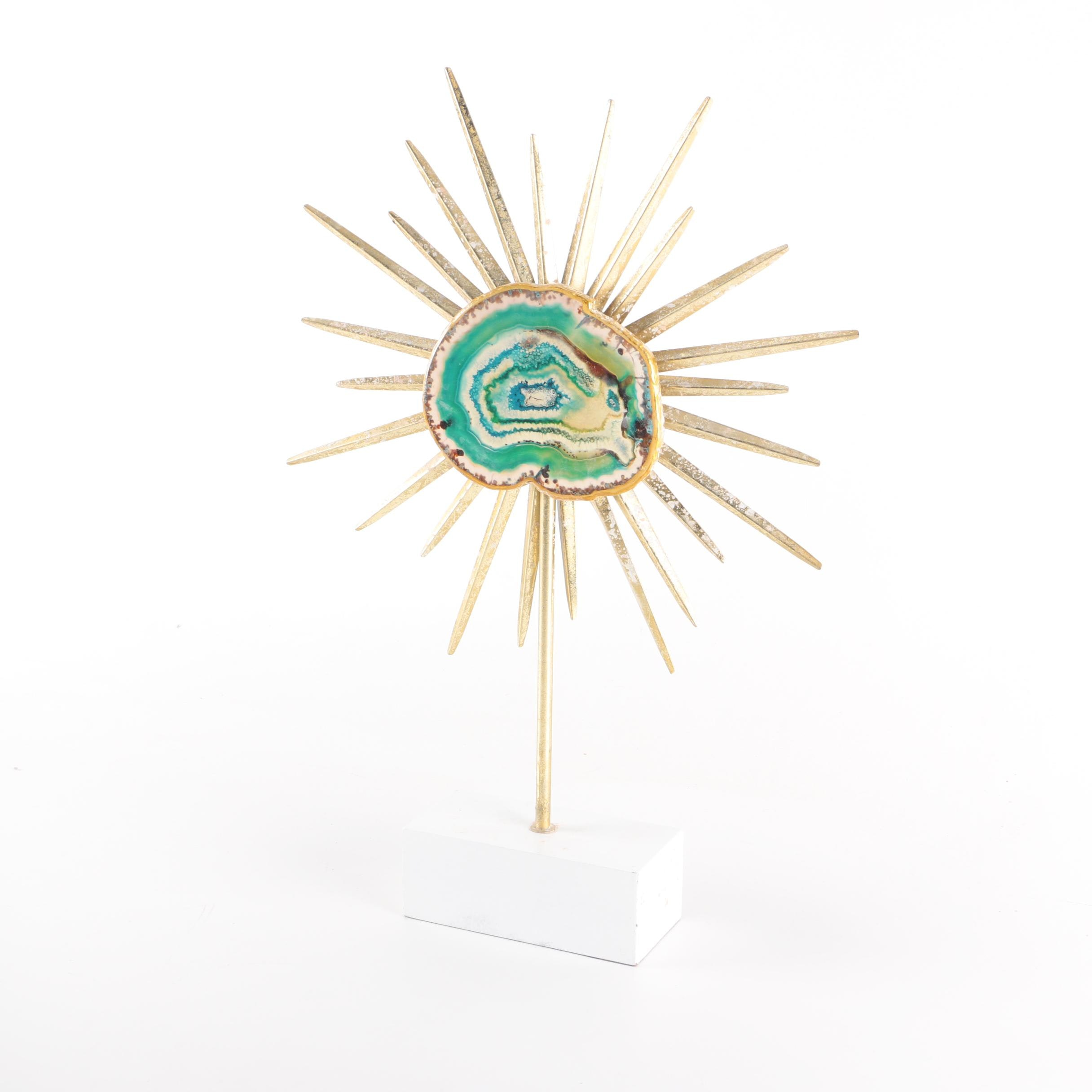 Gold Tone Starburst Table Sculpture