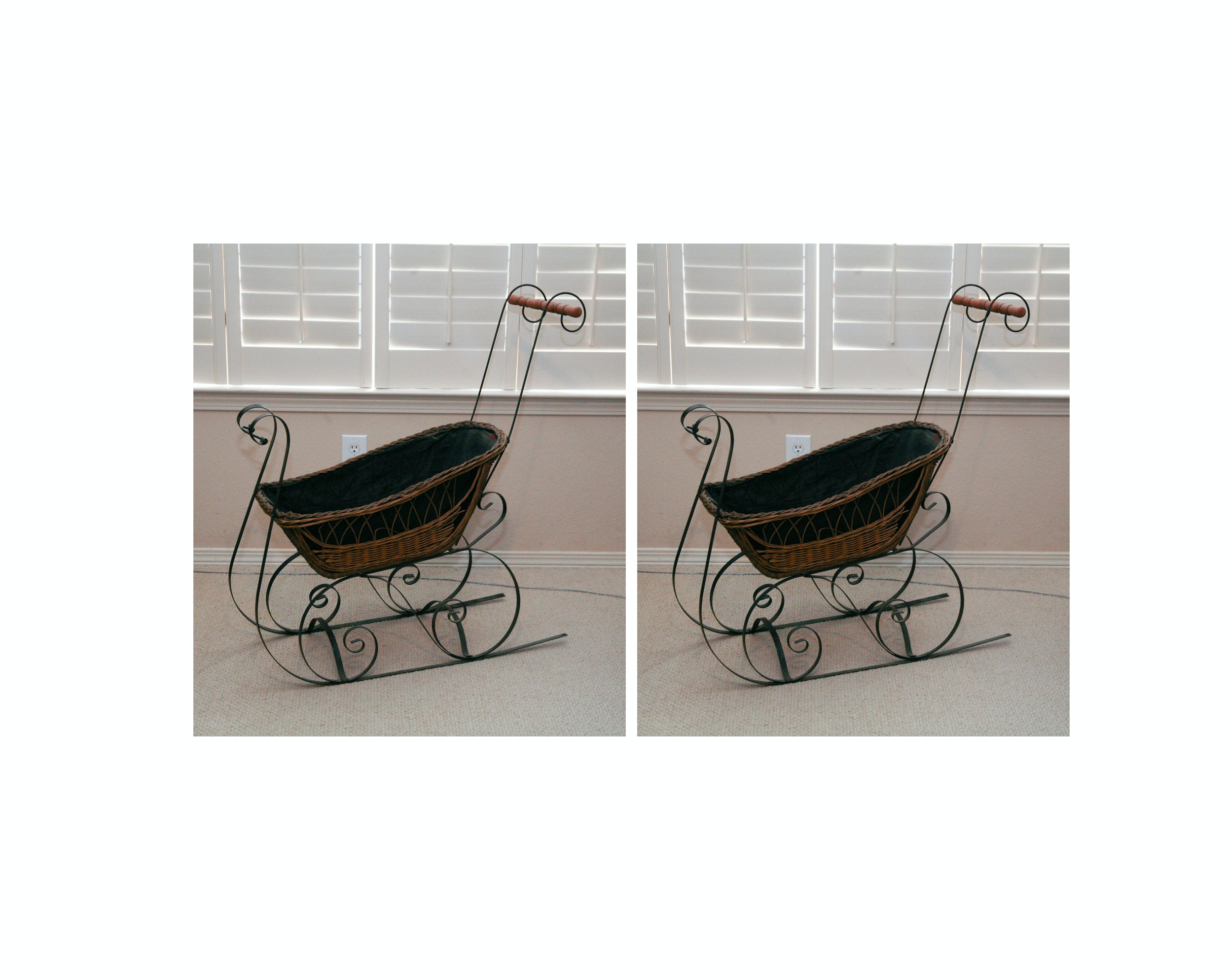 Pair of Baskets with Wrought Iron Sleigh Frame