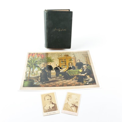 Antique President James Garfield and First Lady Lucretia Garfield Memorabilia