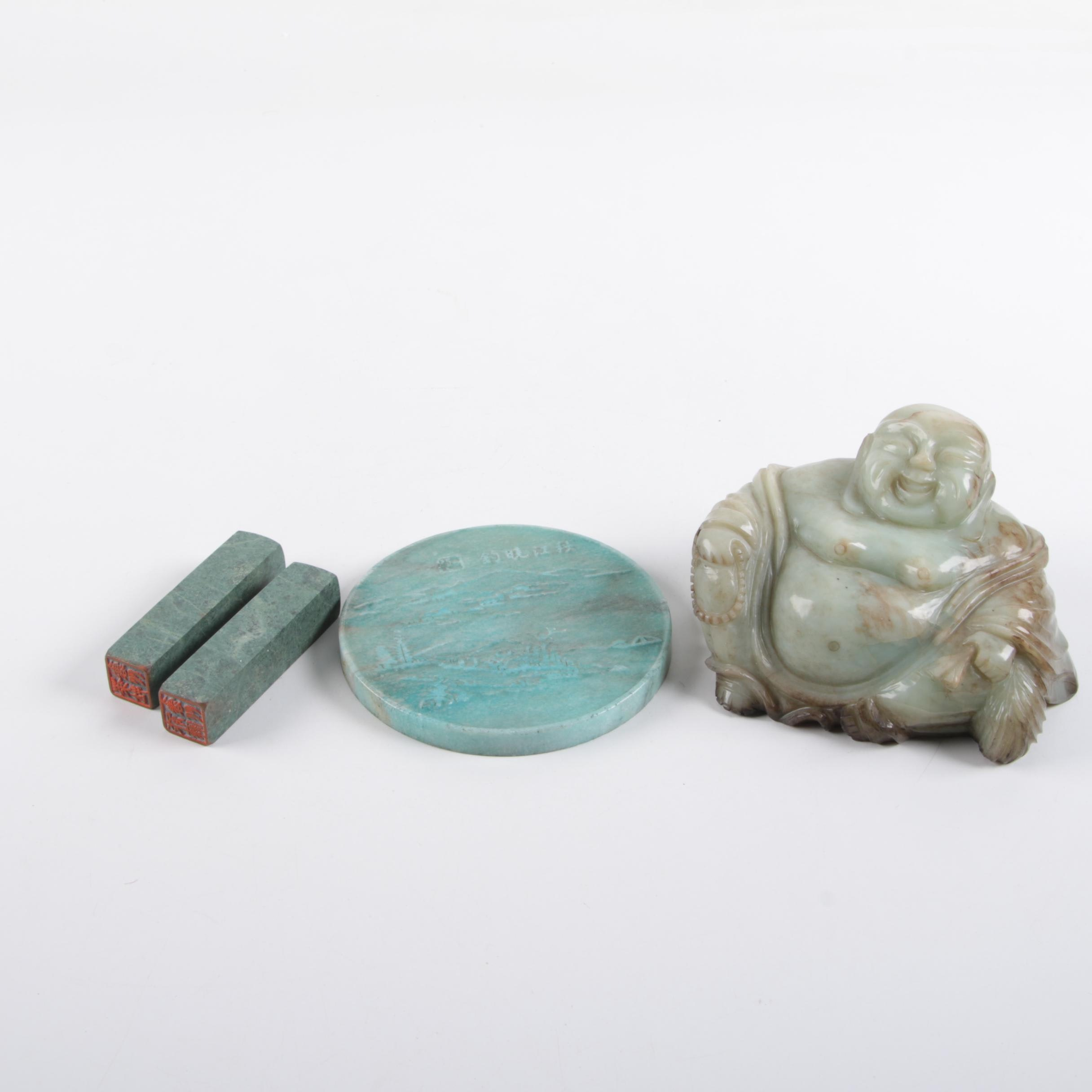 Chinese Serpentine Budai with Coaster and Marble Stamps