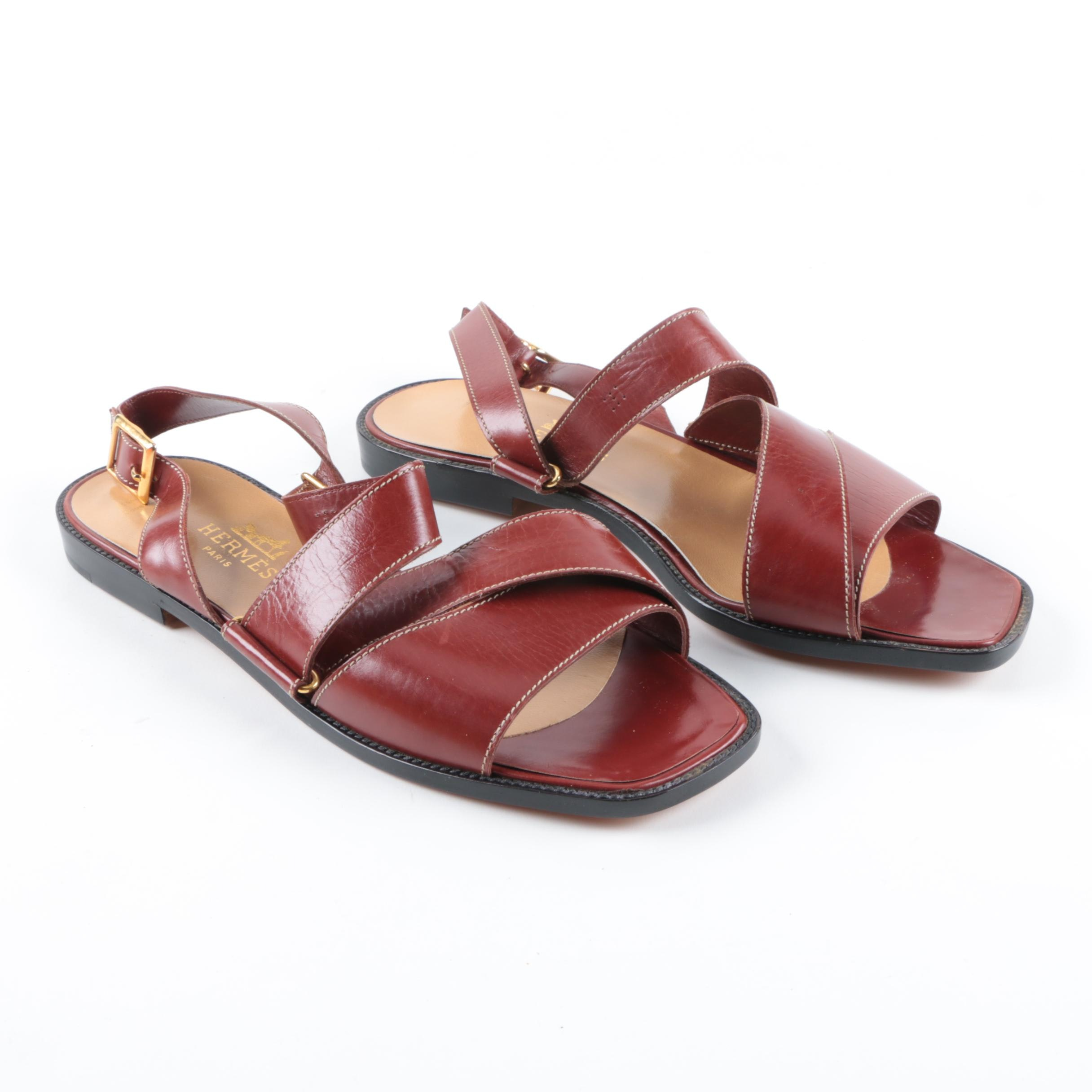 Hermès Red Leather Sandals