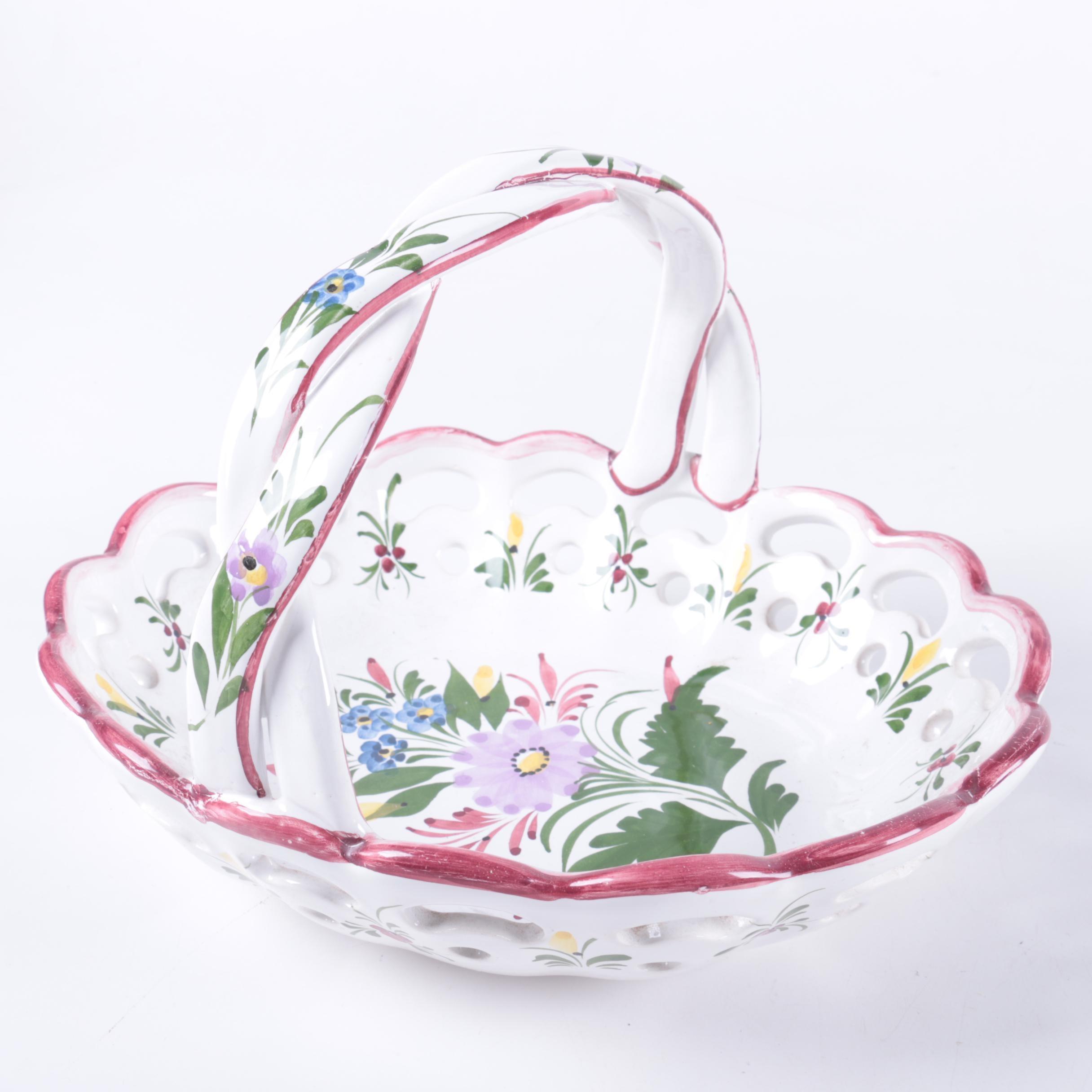 Ceramic Floral Motif Basket