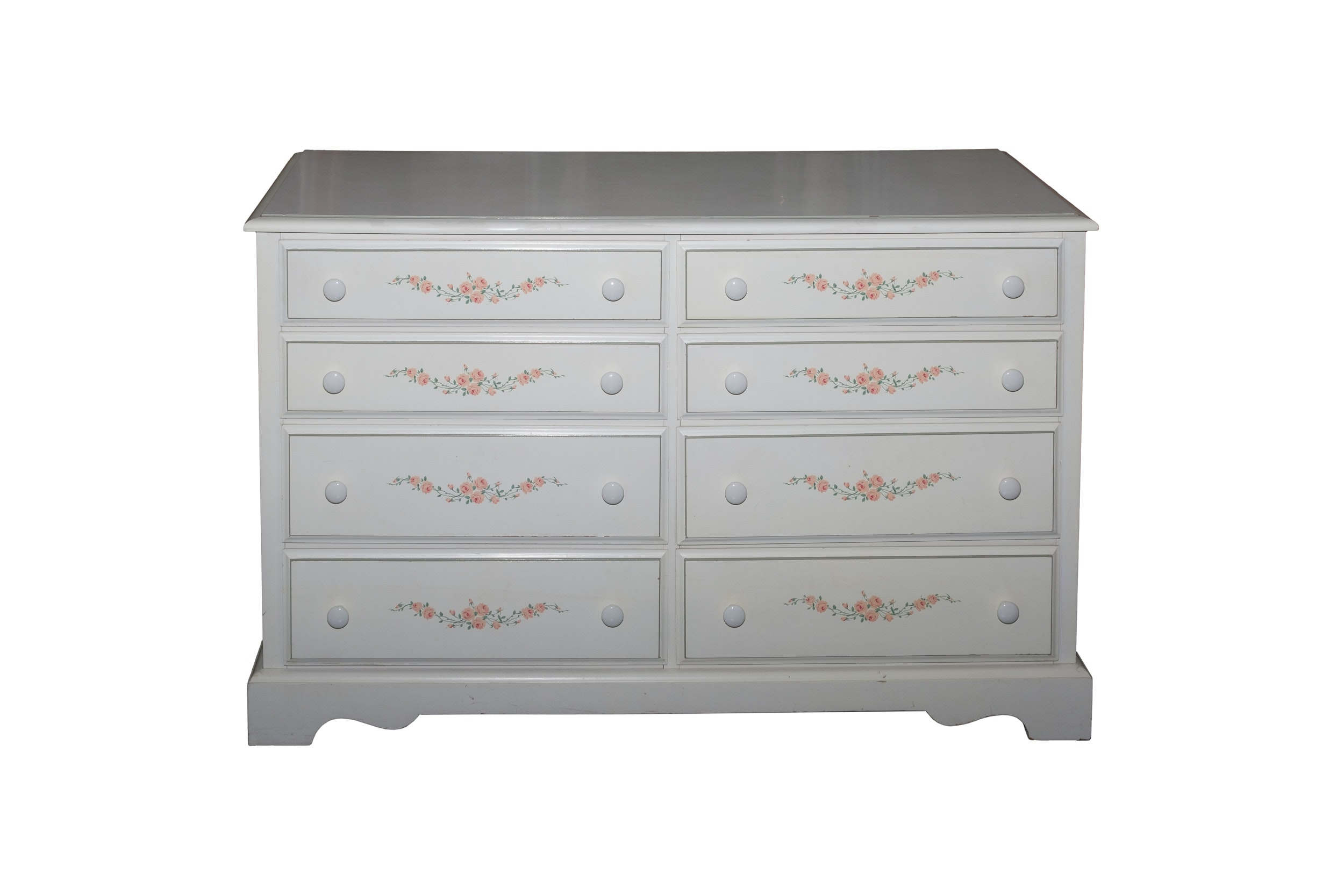 Painted Chest of Drawers with Flowers