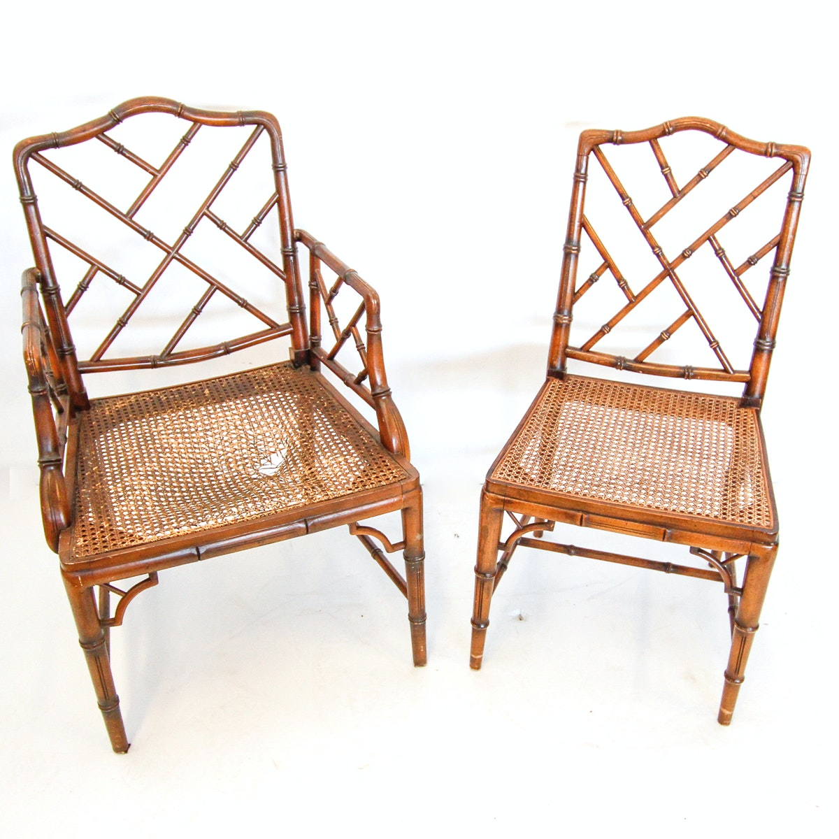 Pair of Bamboo and Rattan Chairs