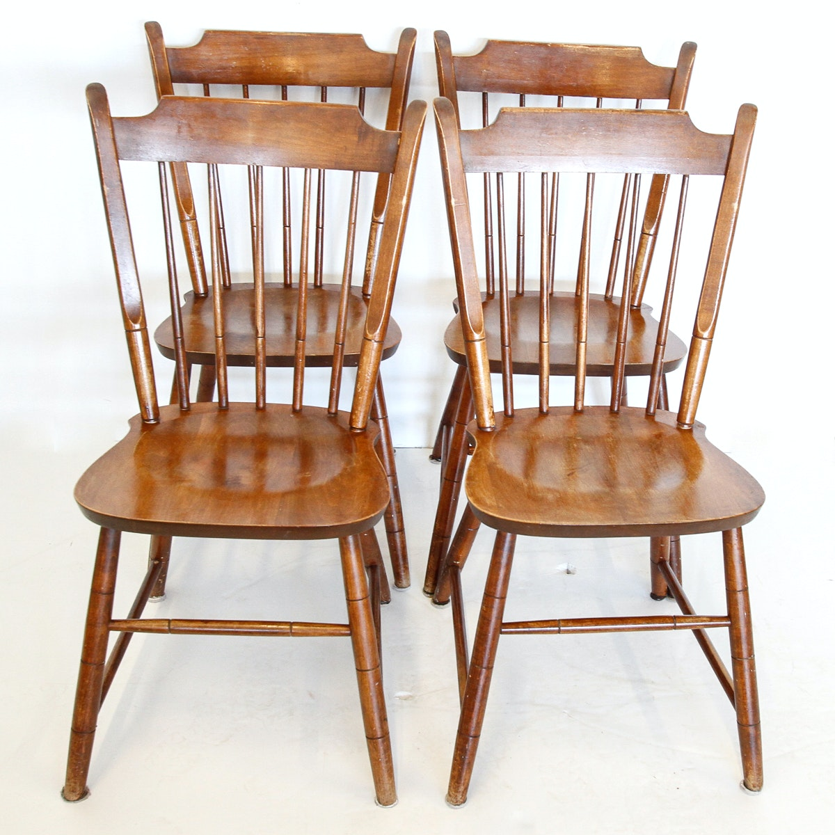 Set of Vintage Windsor Style Dining Chairs by Nashville Upholstering Co.