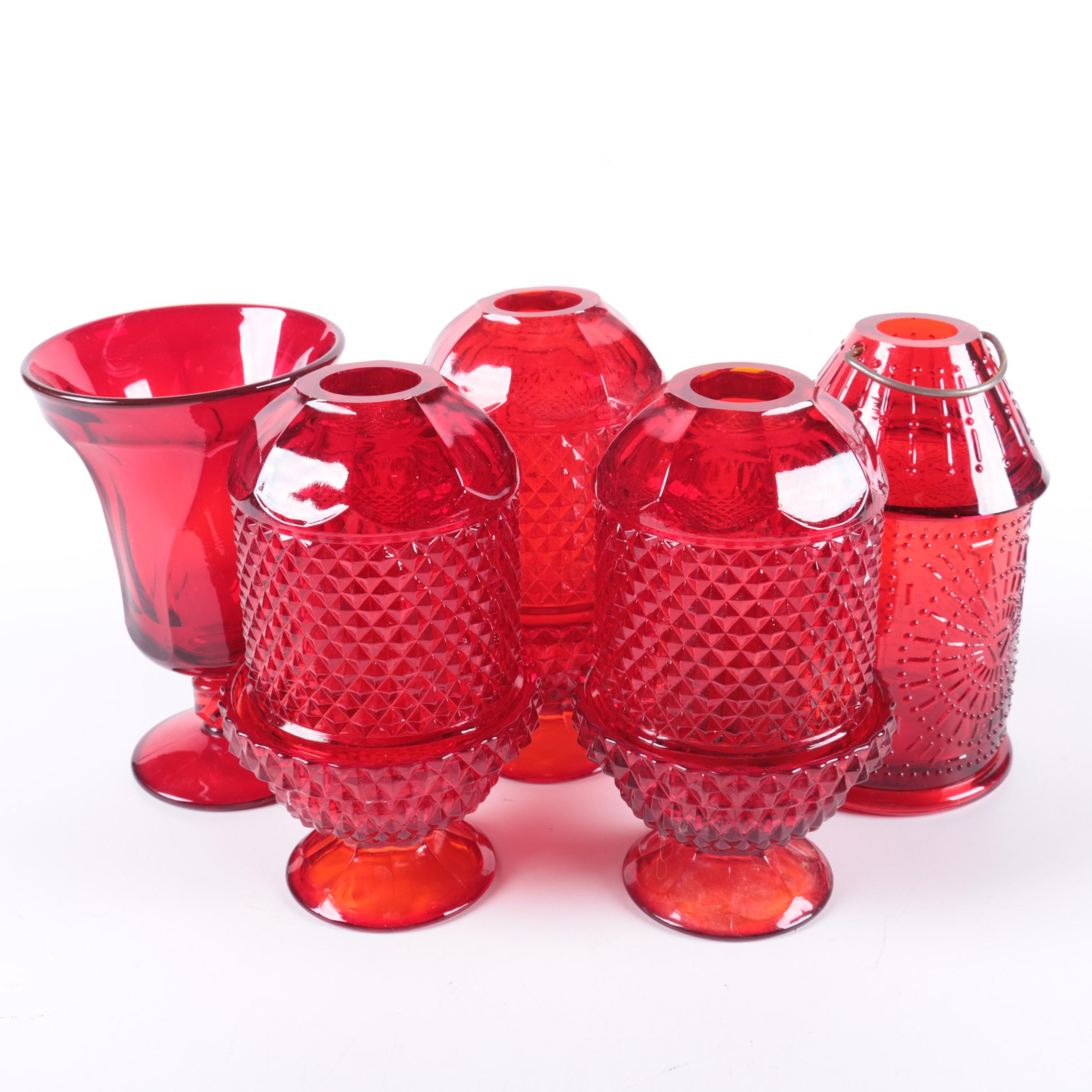 Assorted Colored Red Glass Candle Holders, Lantern, and Vase