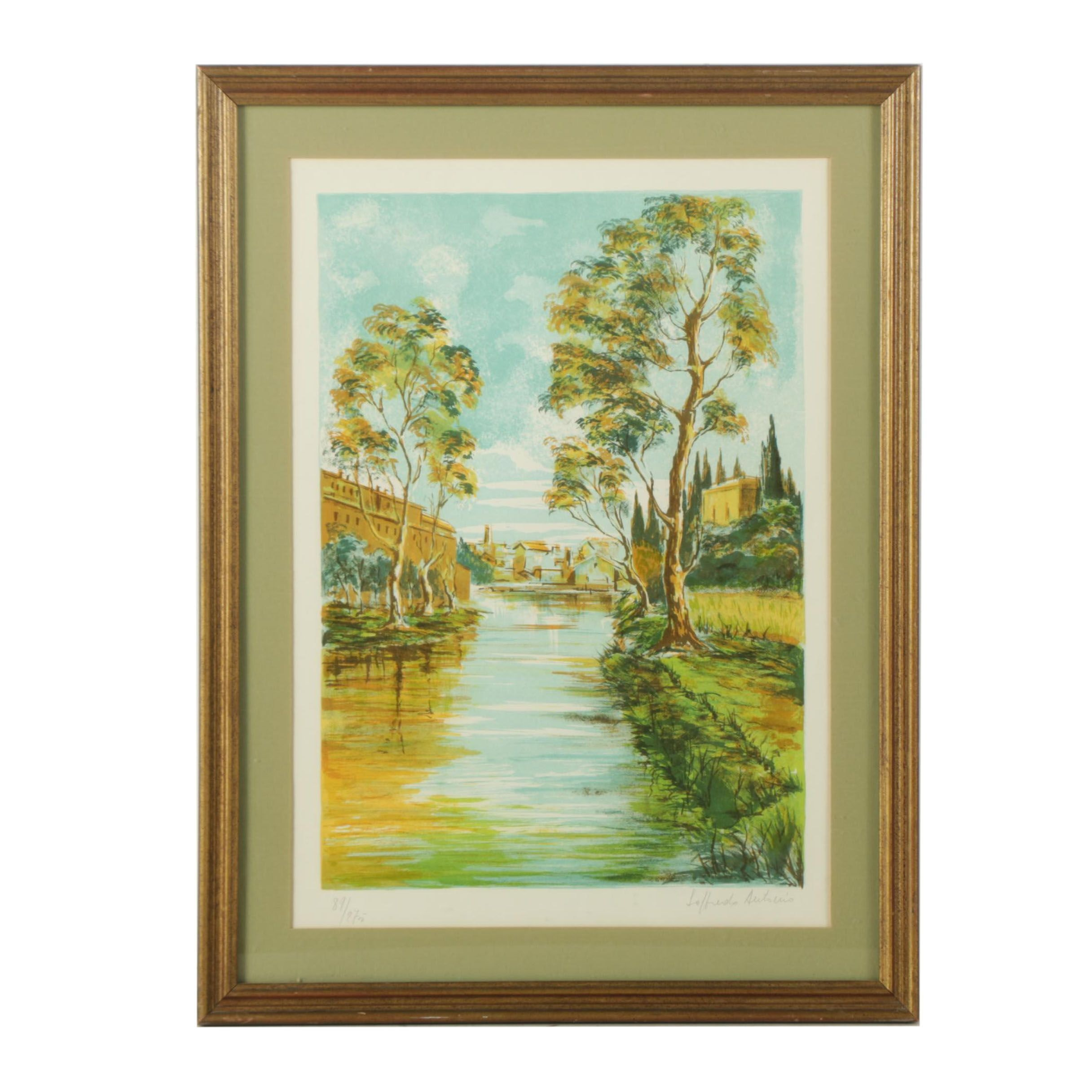 Antonio Loffredo Limited Edition Lithograph Waterfront Landscape