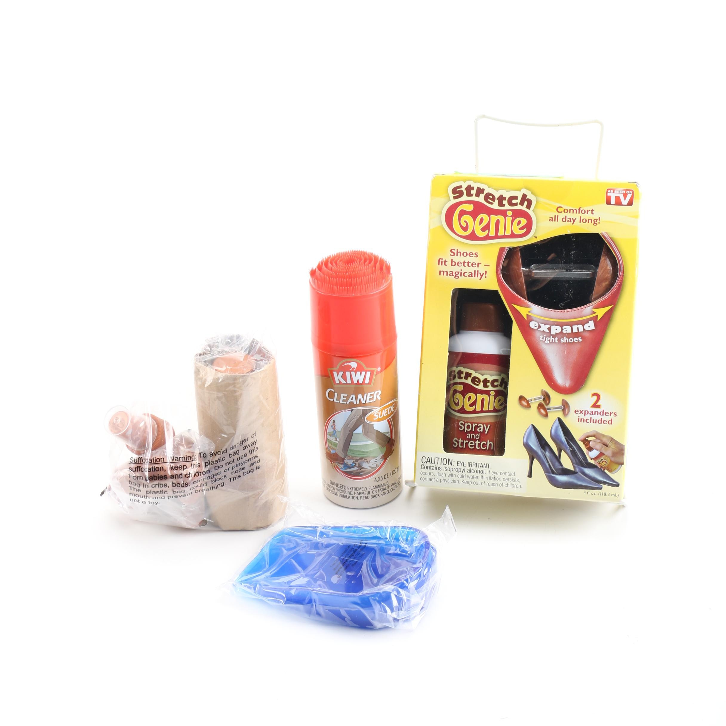 Stretch Genie Shoe Expanders With Accessories and Kiwi Brand Suede Cleaner
