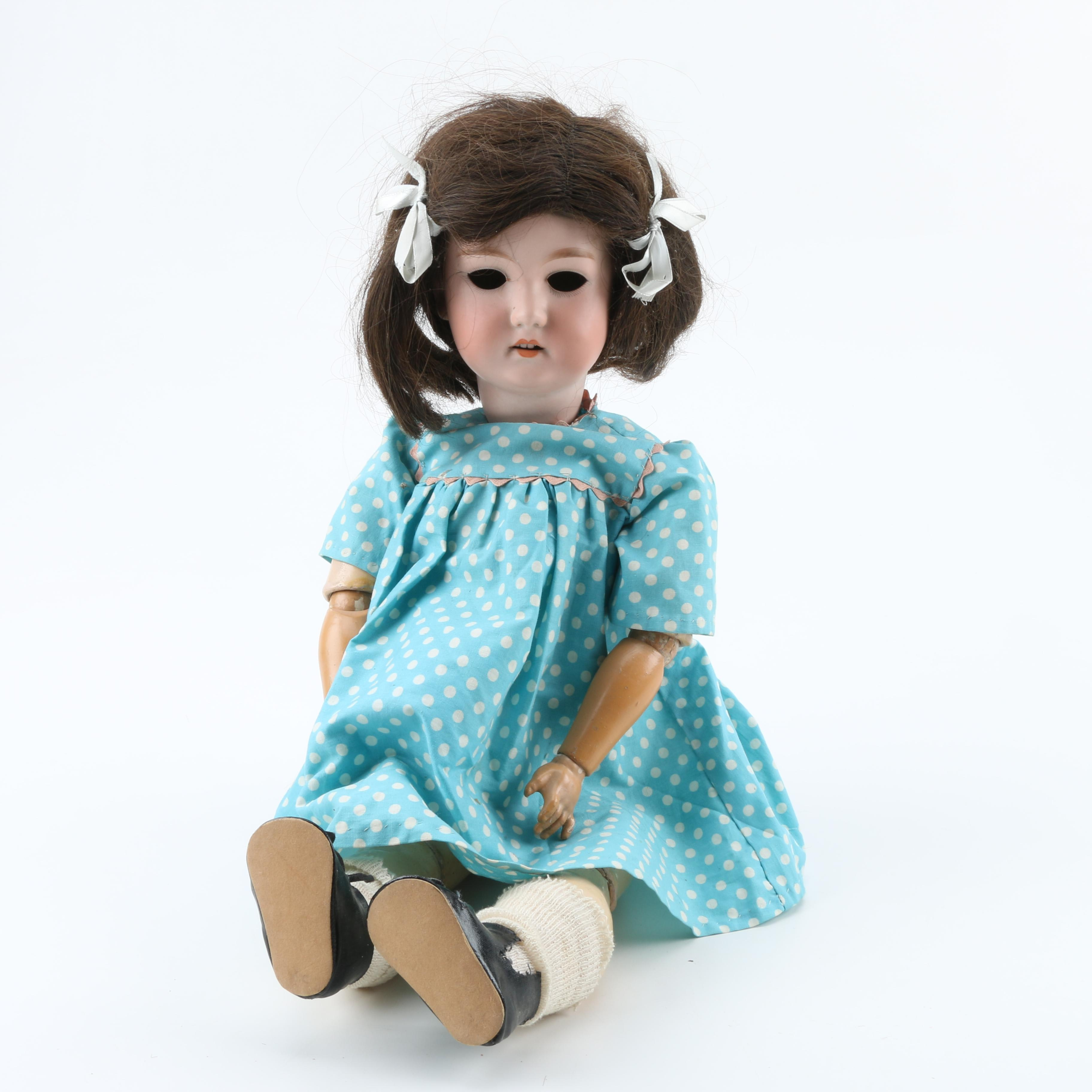 Antique German Bisque Socket Head and Composition Doll