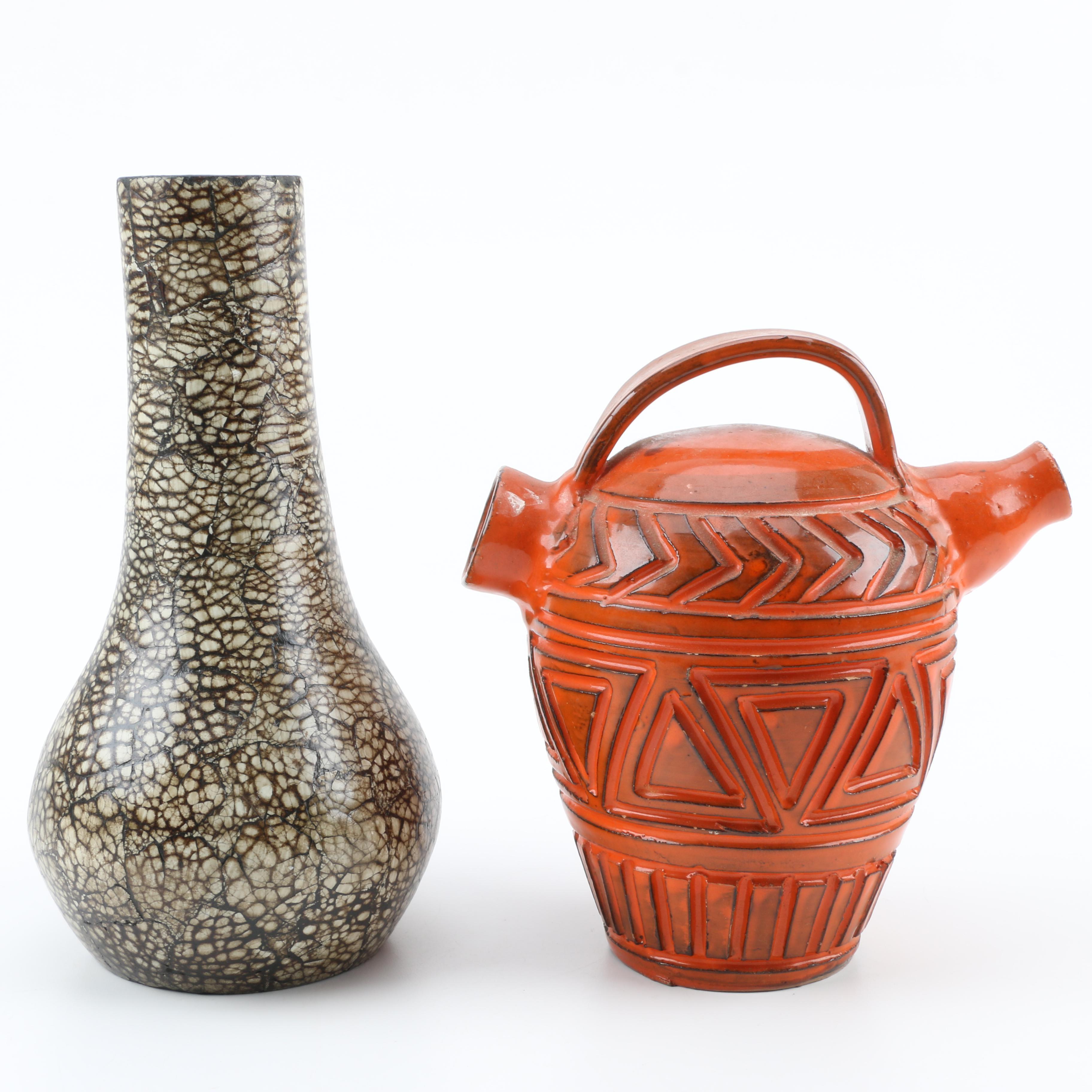 White Ceramic Vase Attributed to Jean Gerbino