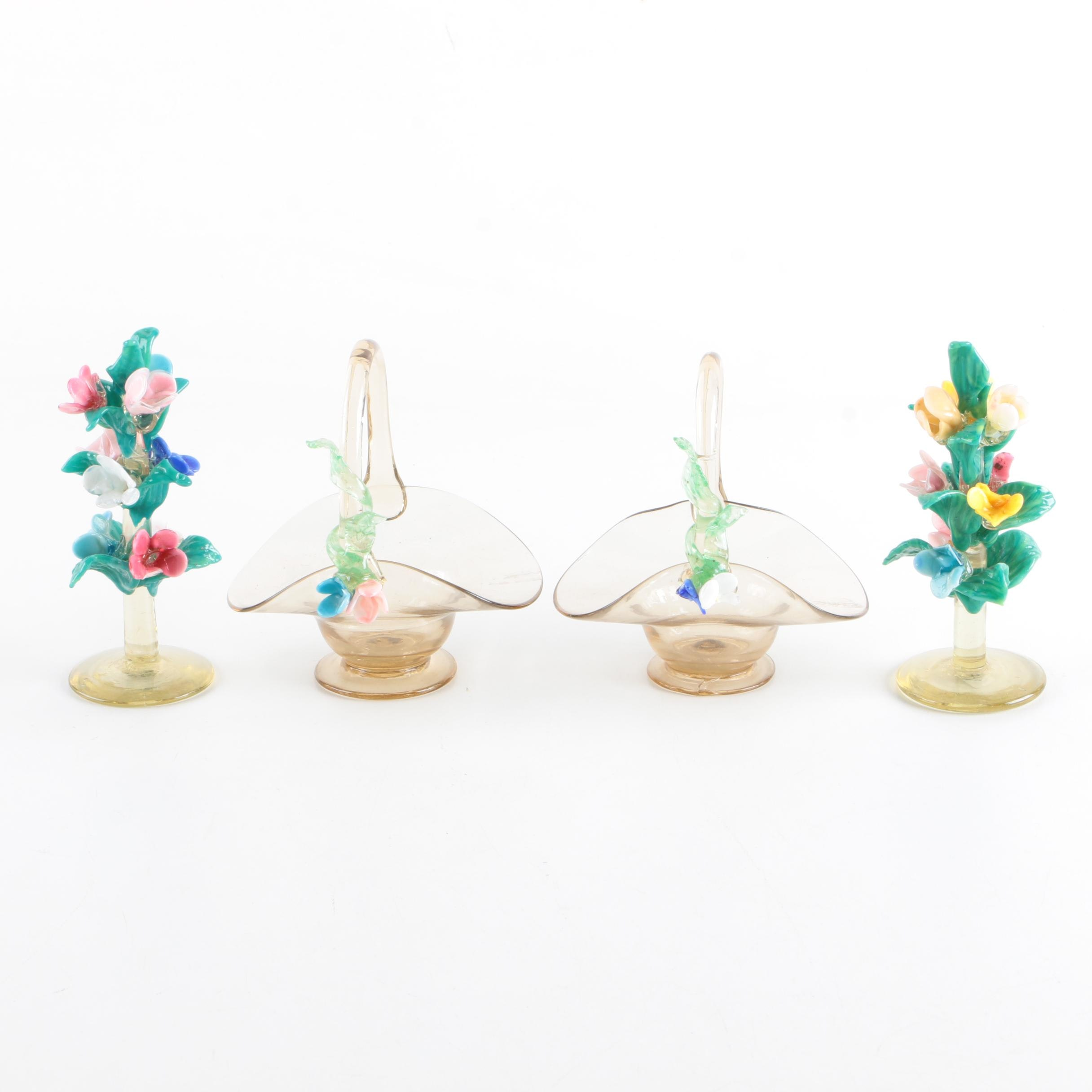 1920s Venetian Glass Floral Sculptures and Baskets