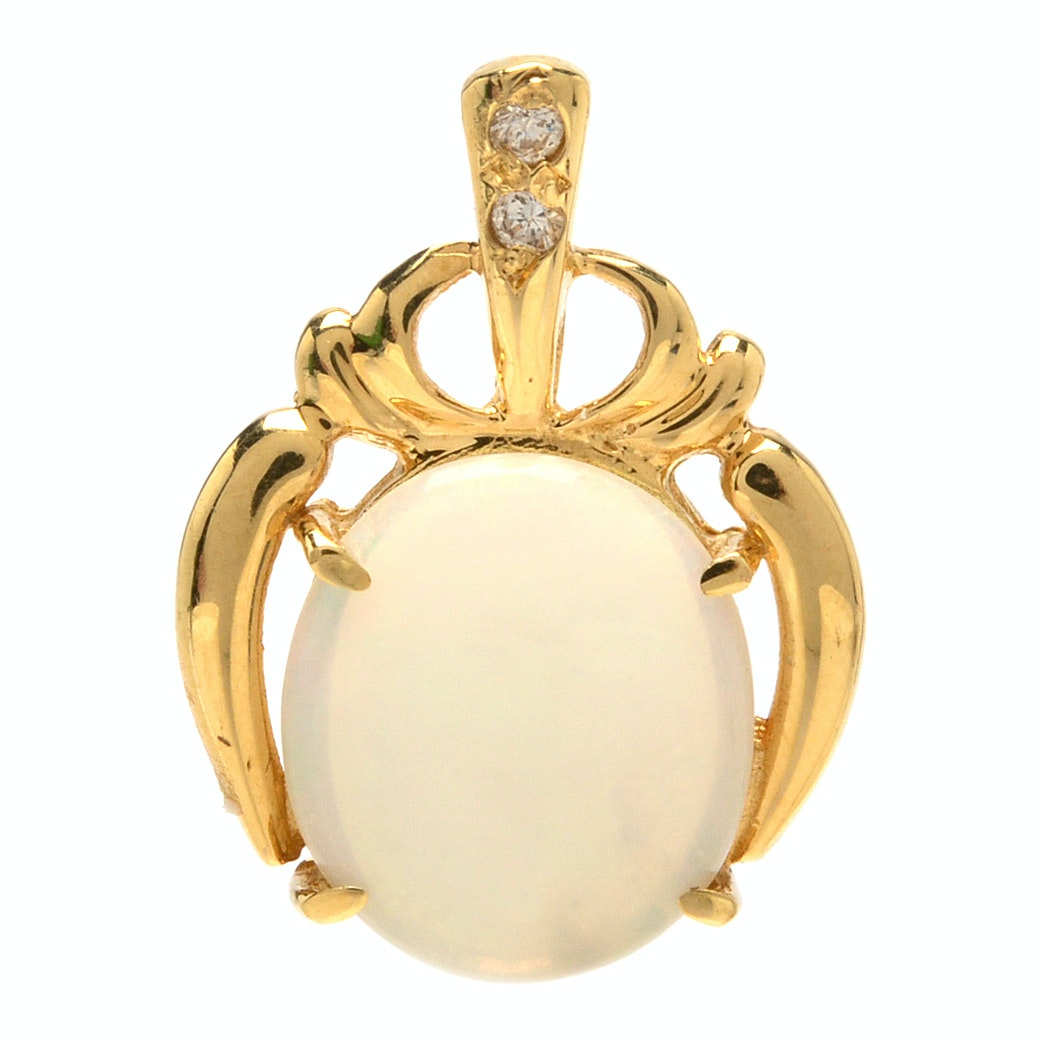 18K Yellow Gold Opal and Cubic Zirconia Pendant