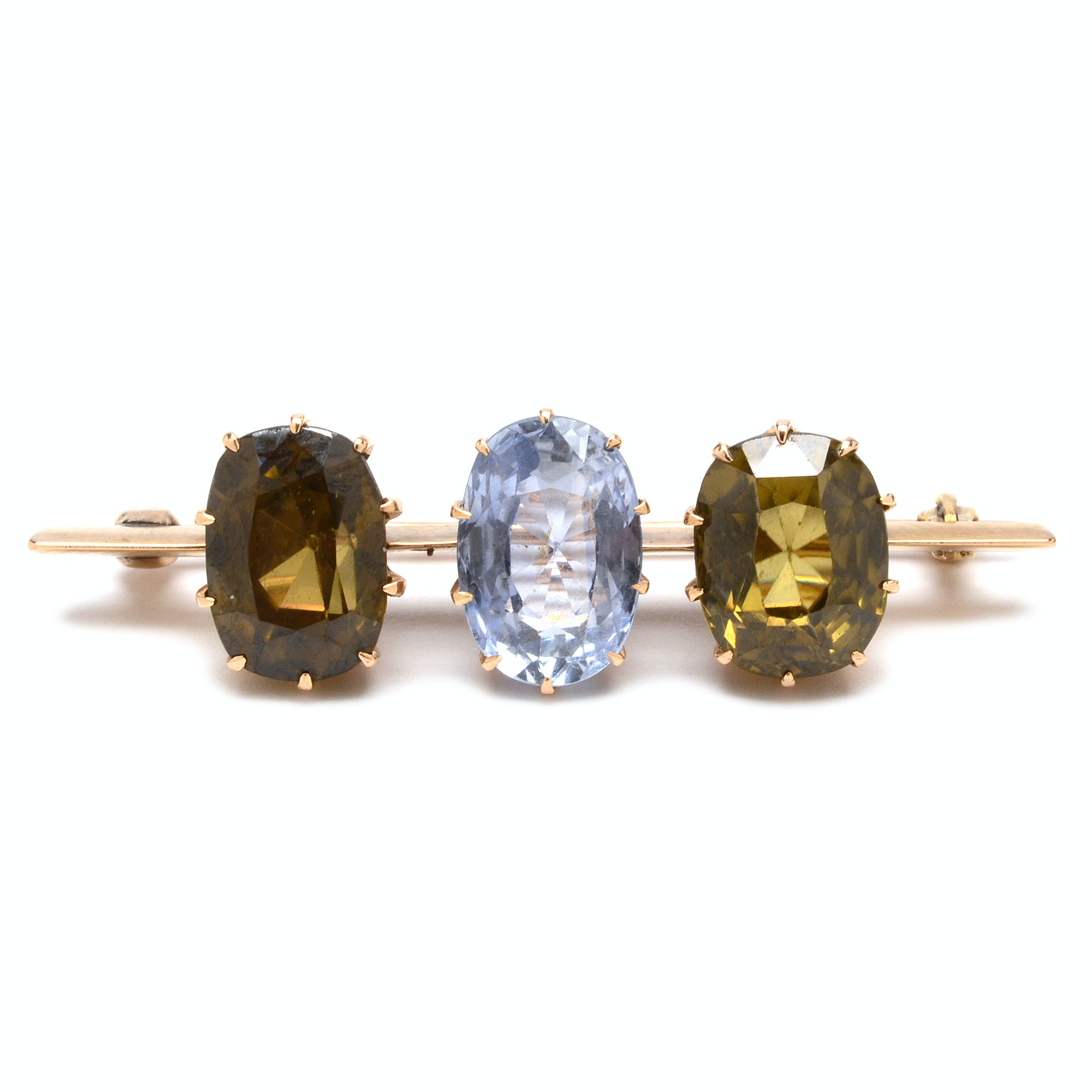 Antique 14K Yellow Gold Sapphire and Zircon Pin