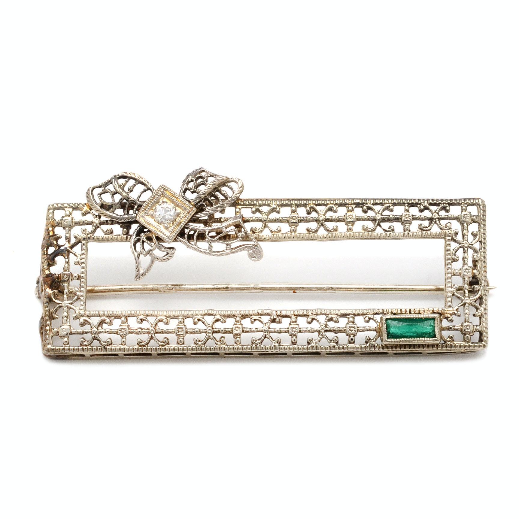 Vintage 10K White Gold Diamond Filigree Brooch