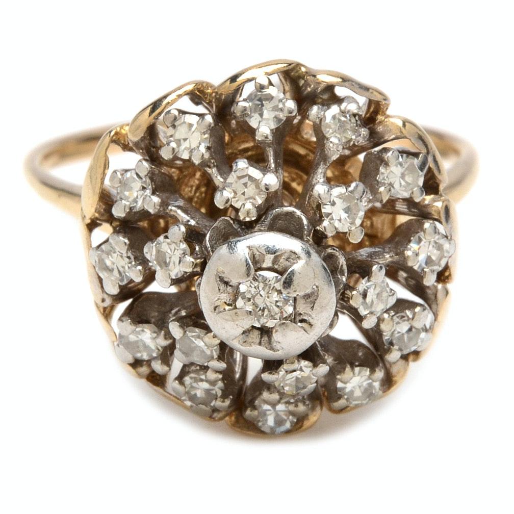 10K Yellow Gold Diamond Cluster Ring