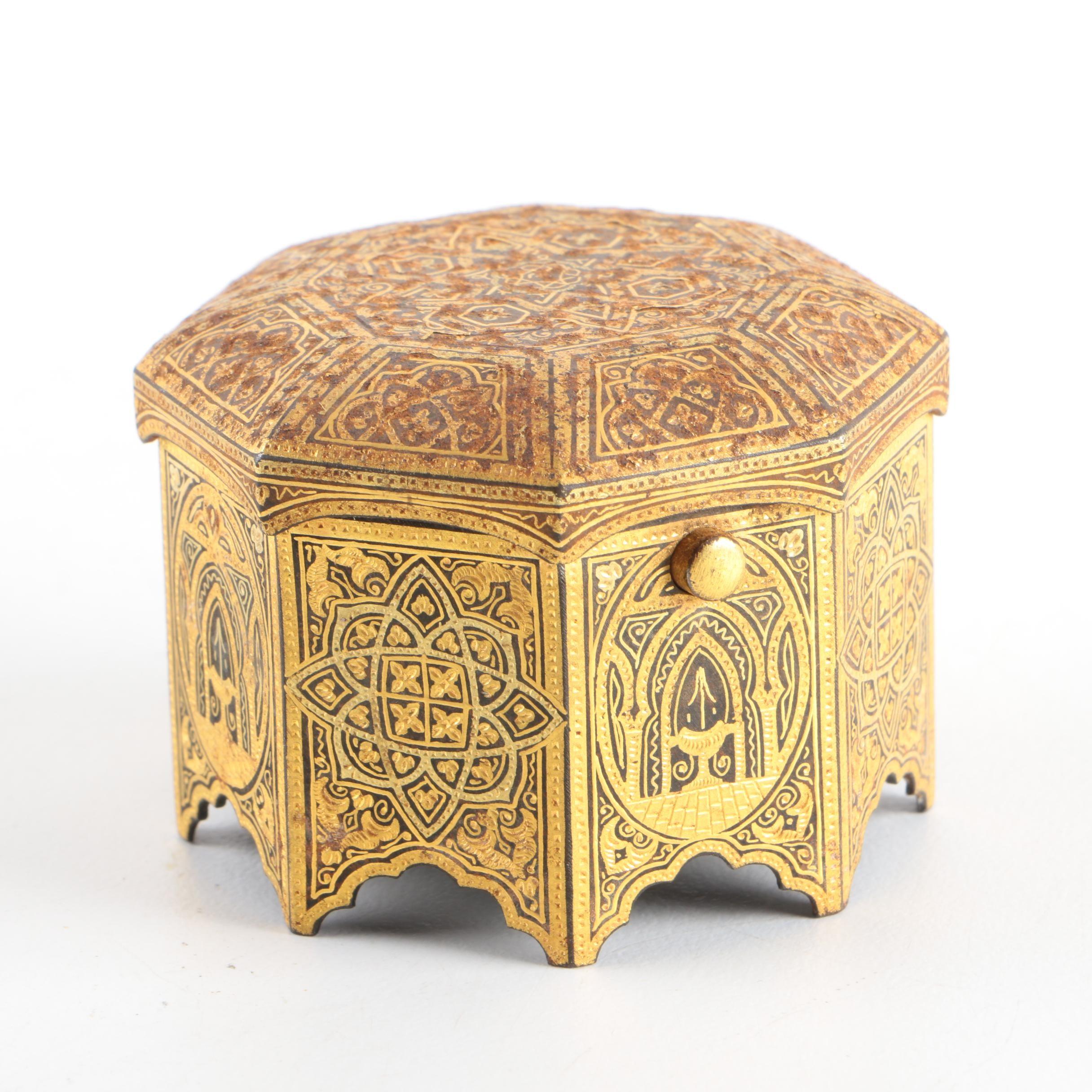 Gold Tone Moroccan Style Trinket Box