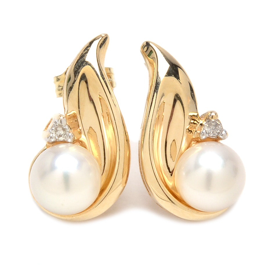 10K Yellow Gold Earrings with Pearls and Diamonds