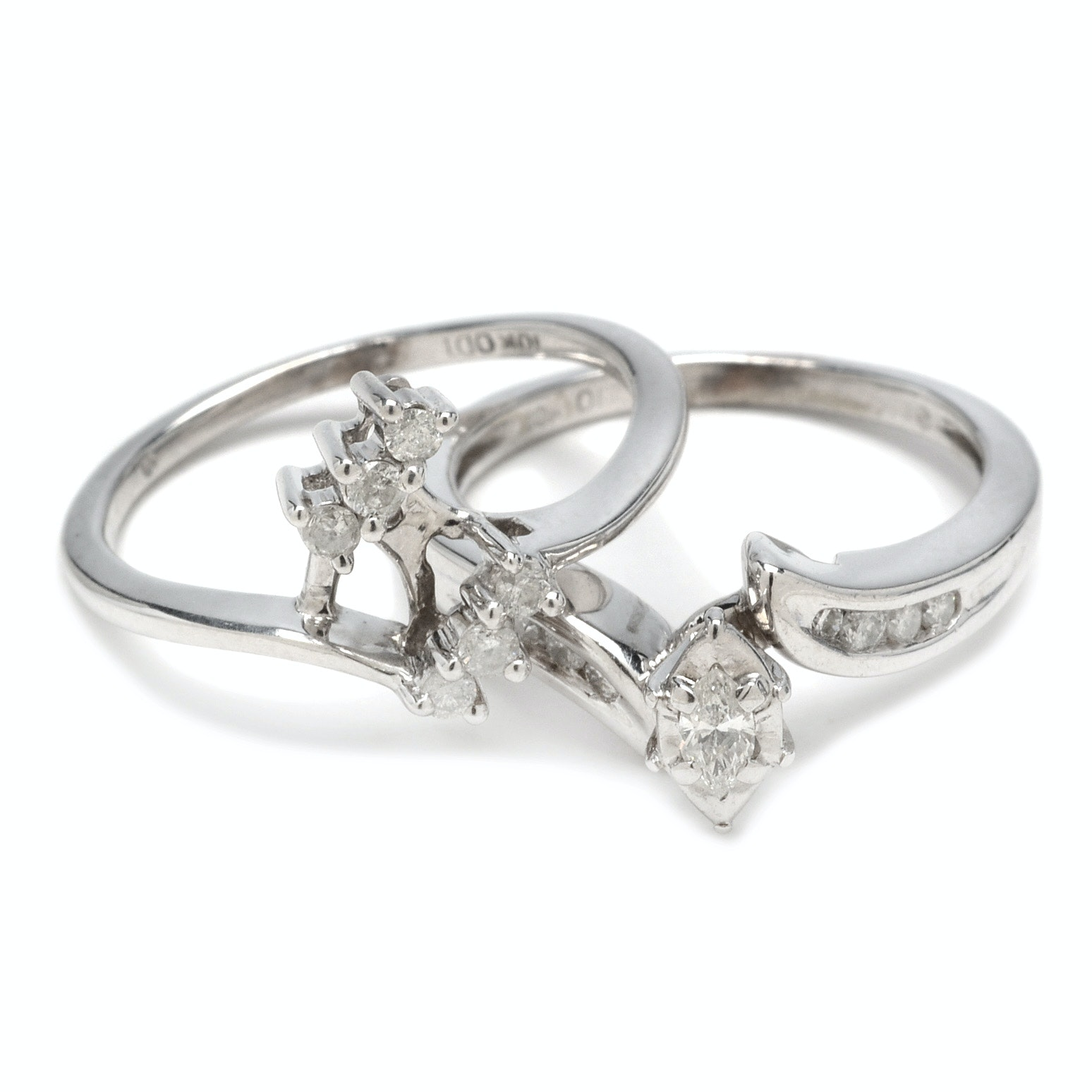 10K White Gold Marquise Diamond Bridal Set