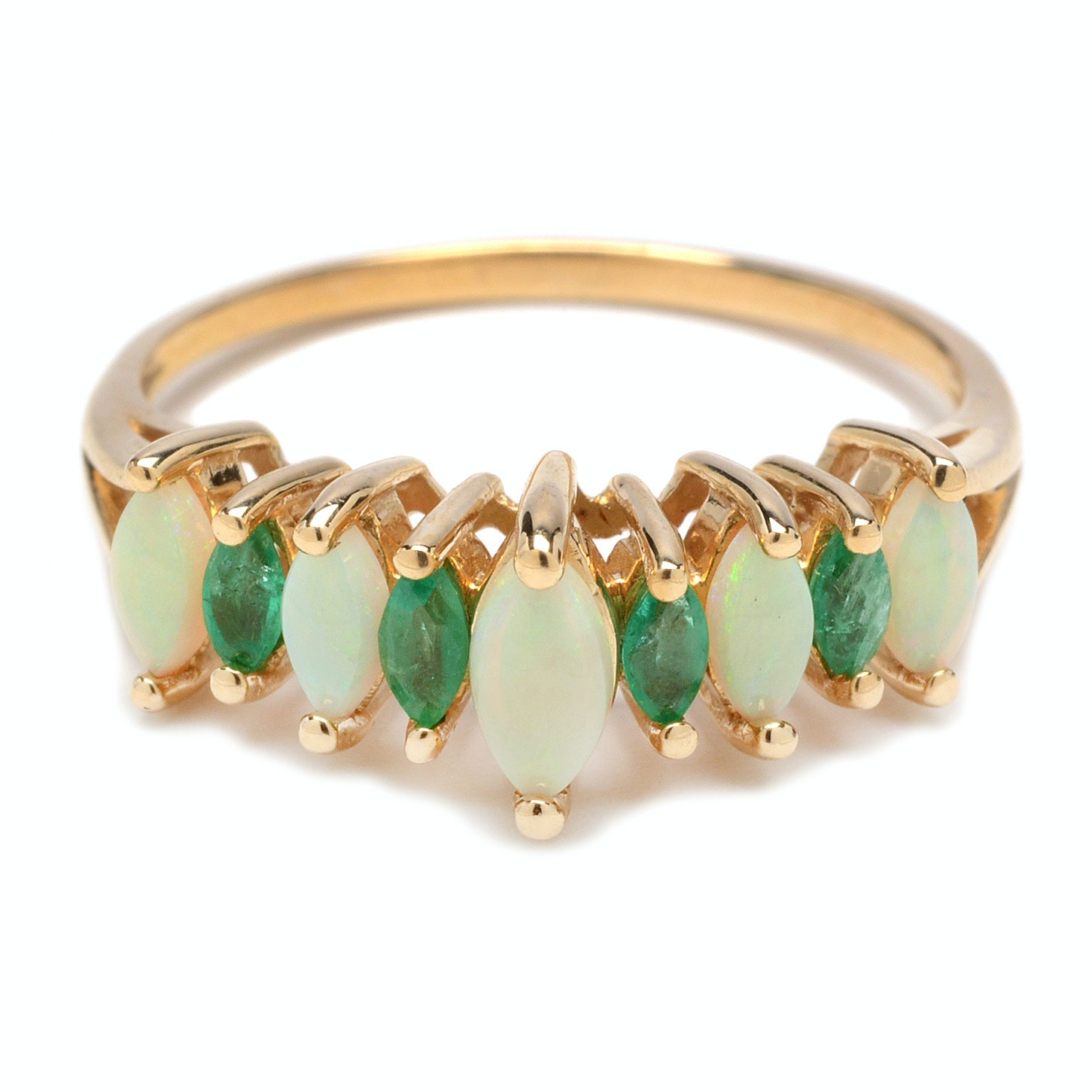 14K Yellow Gold with Opal and Emerald Ring