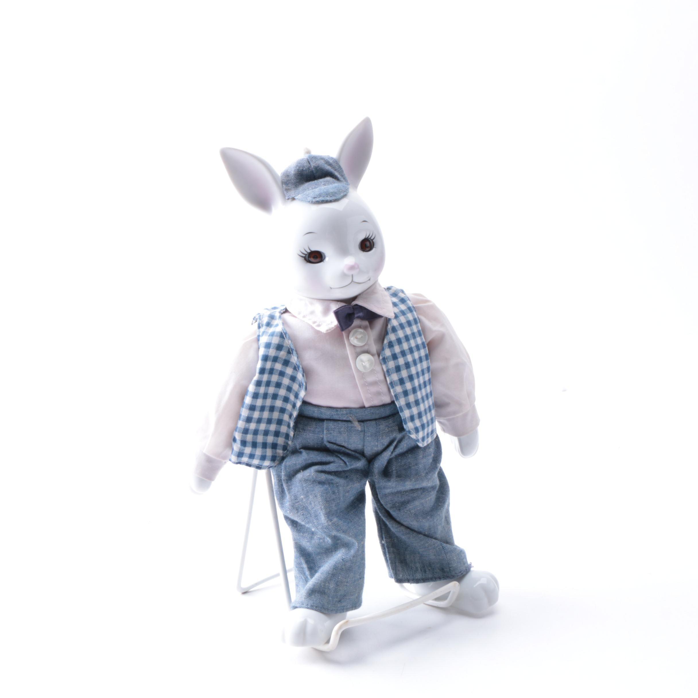 Ceramic and Cloth Rabbit Doll
