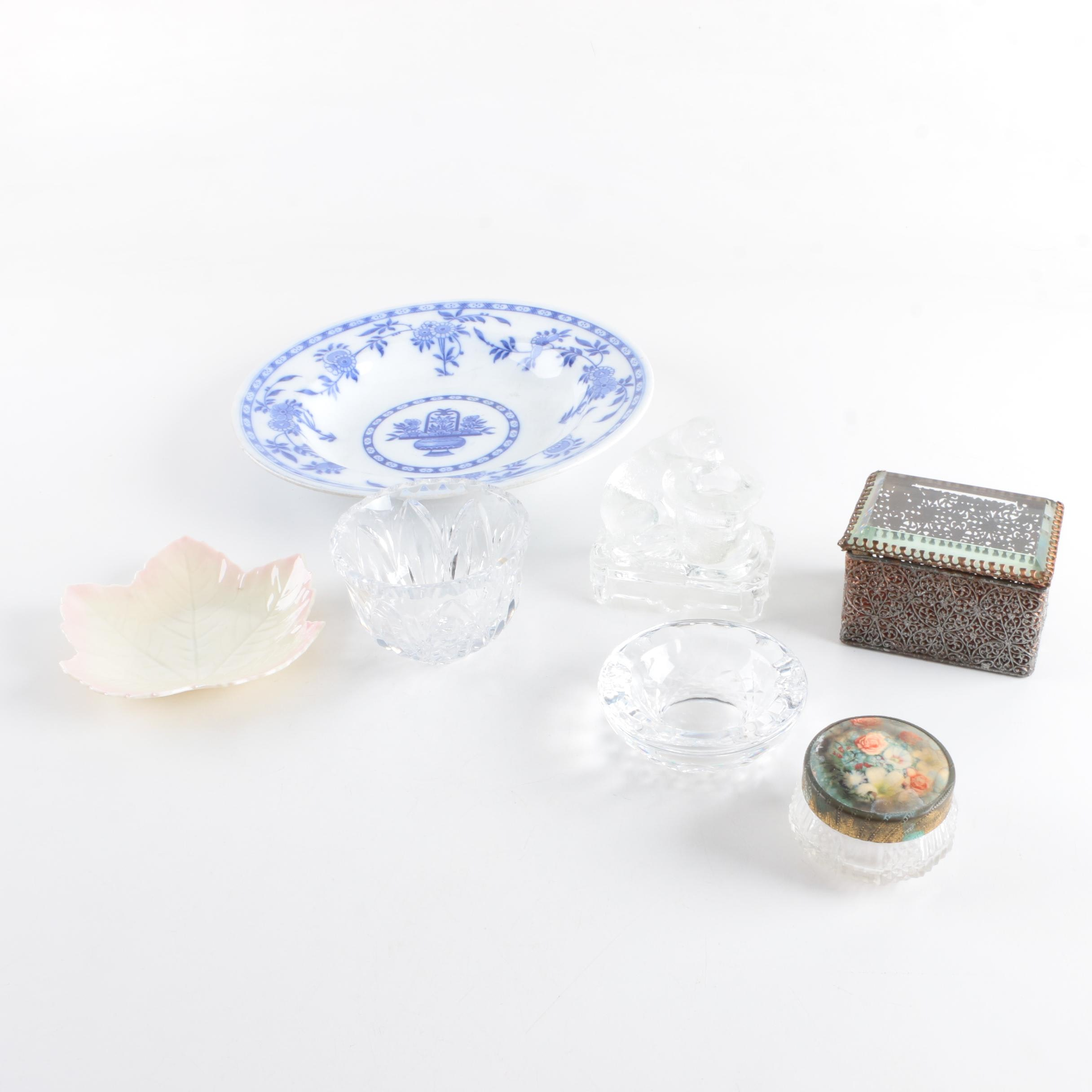 Assortment of Decorative Trinket Dishes Including Belleek and Delft