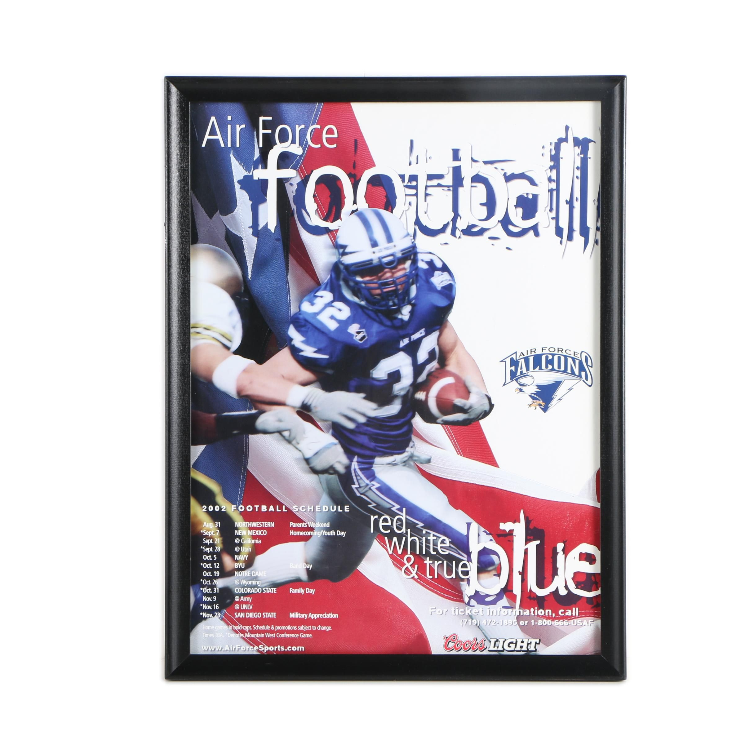 Offset Lithograph Poster on Paper for Air Force Falcons 2002 Schedule