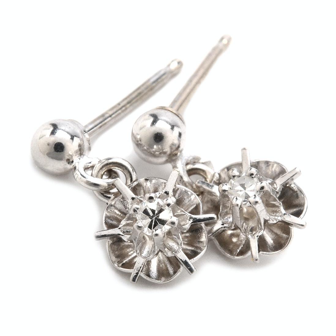 14K White Gold Diamond Stud Dangle Earrings