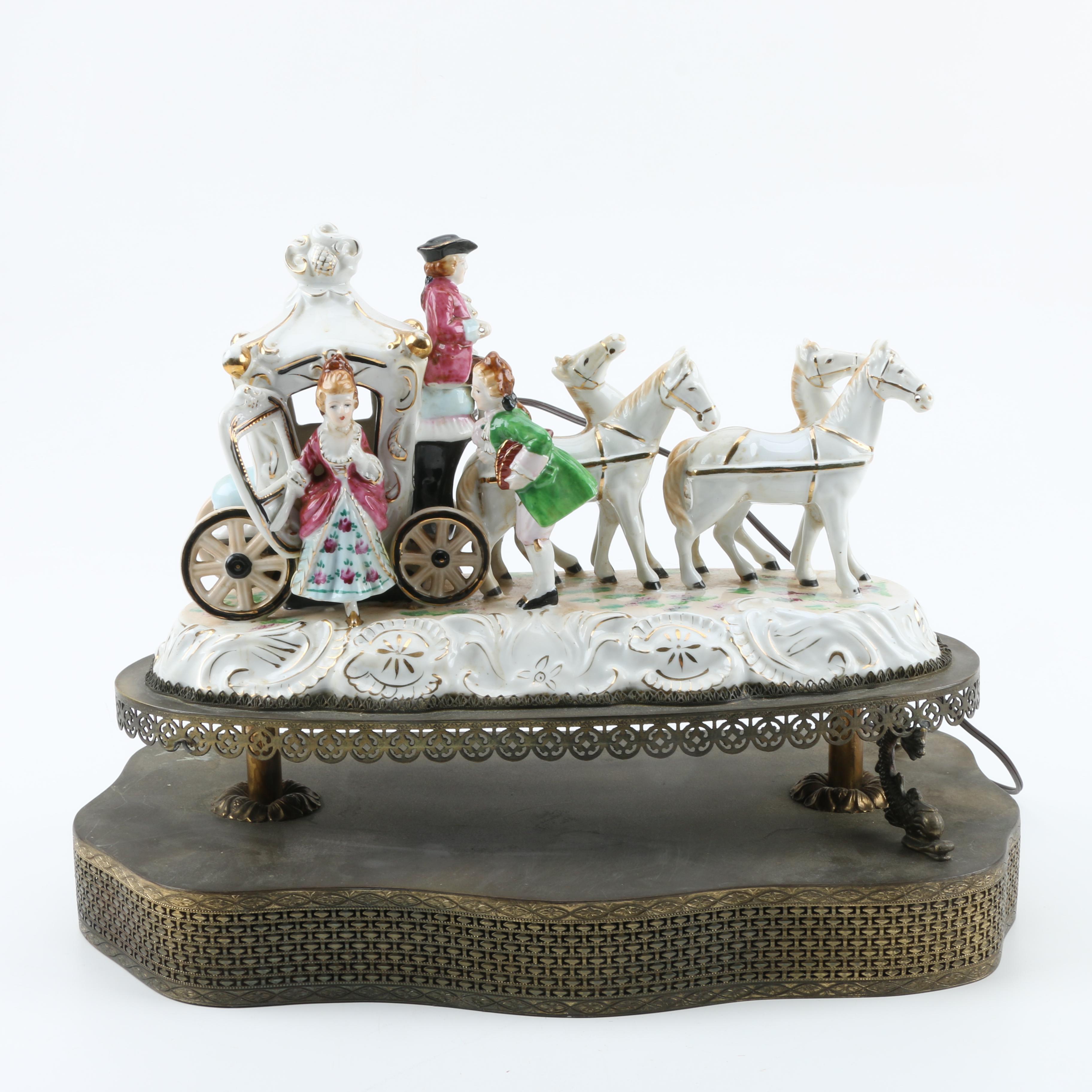 Vintage Porcelain Figural Tableau Lamp