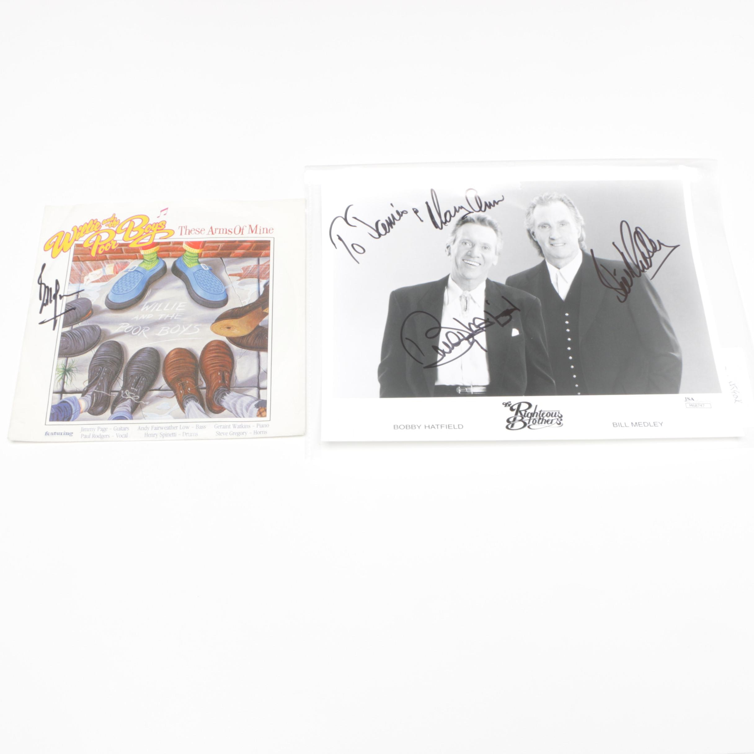 Autographed Bill Wyman Record and The Righteous Brothers Photograph - JSA