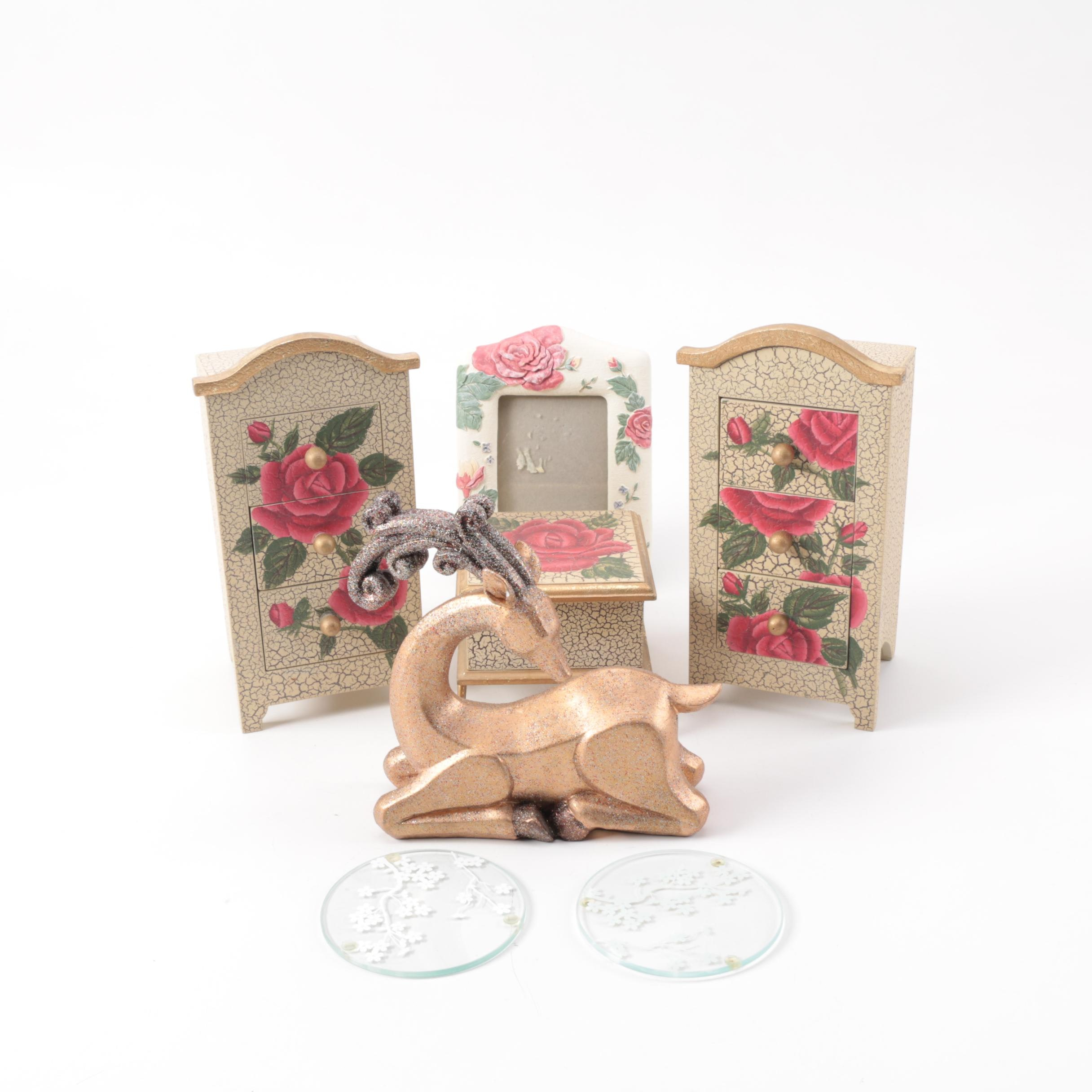 Trinket Boxes, Picture Frame, Figurine, and Coasters
