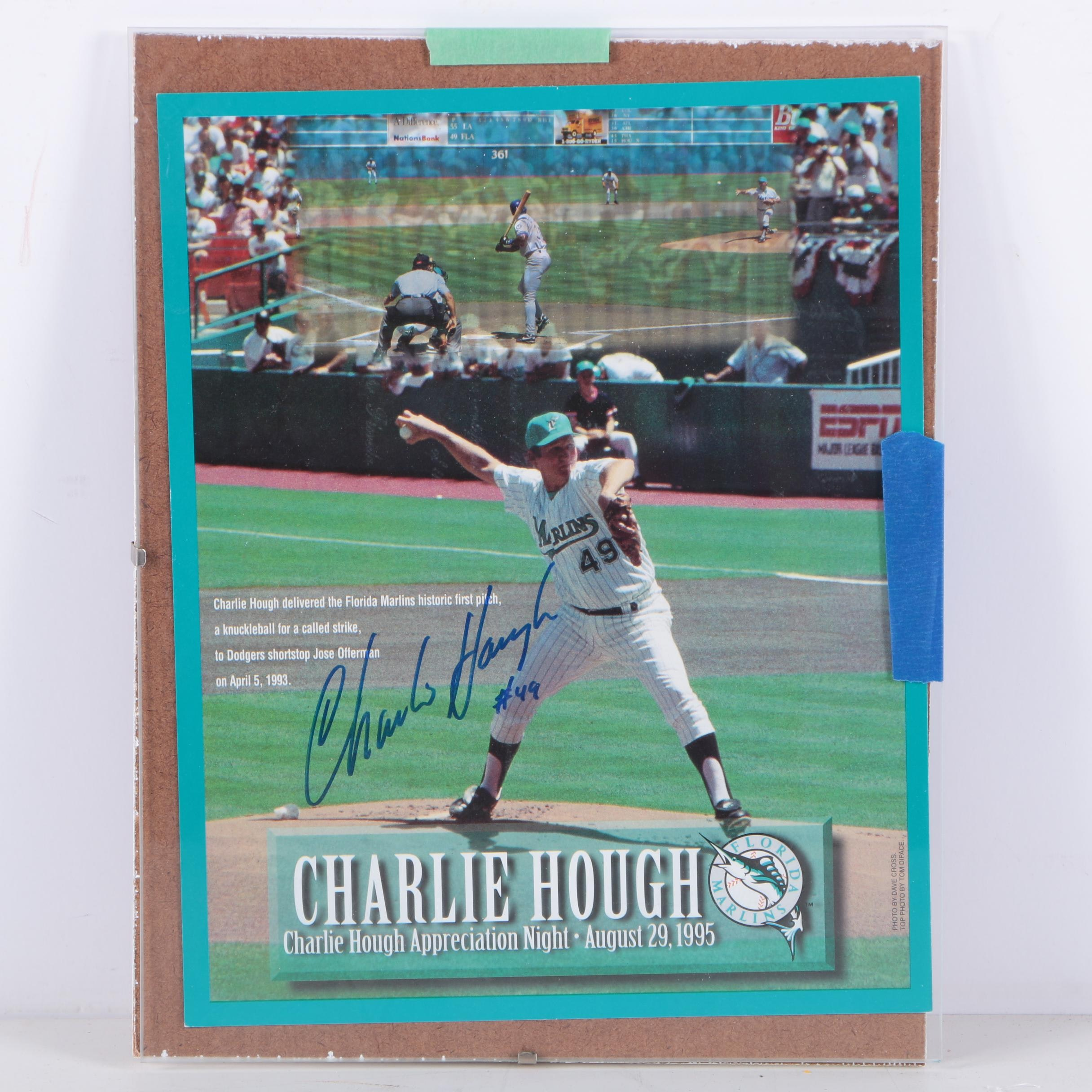 Charlie Hough Autographed Poster