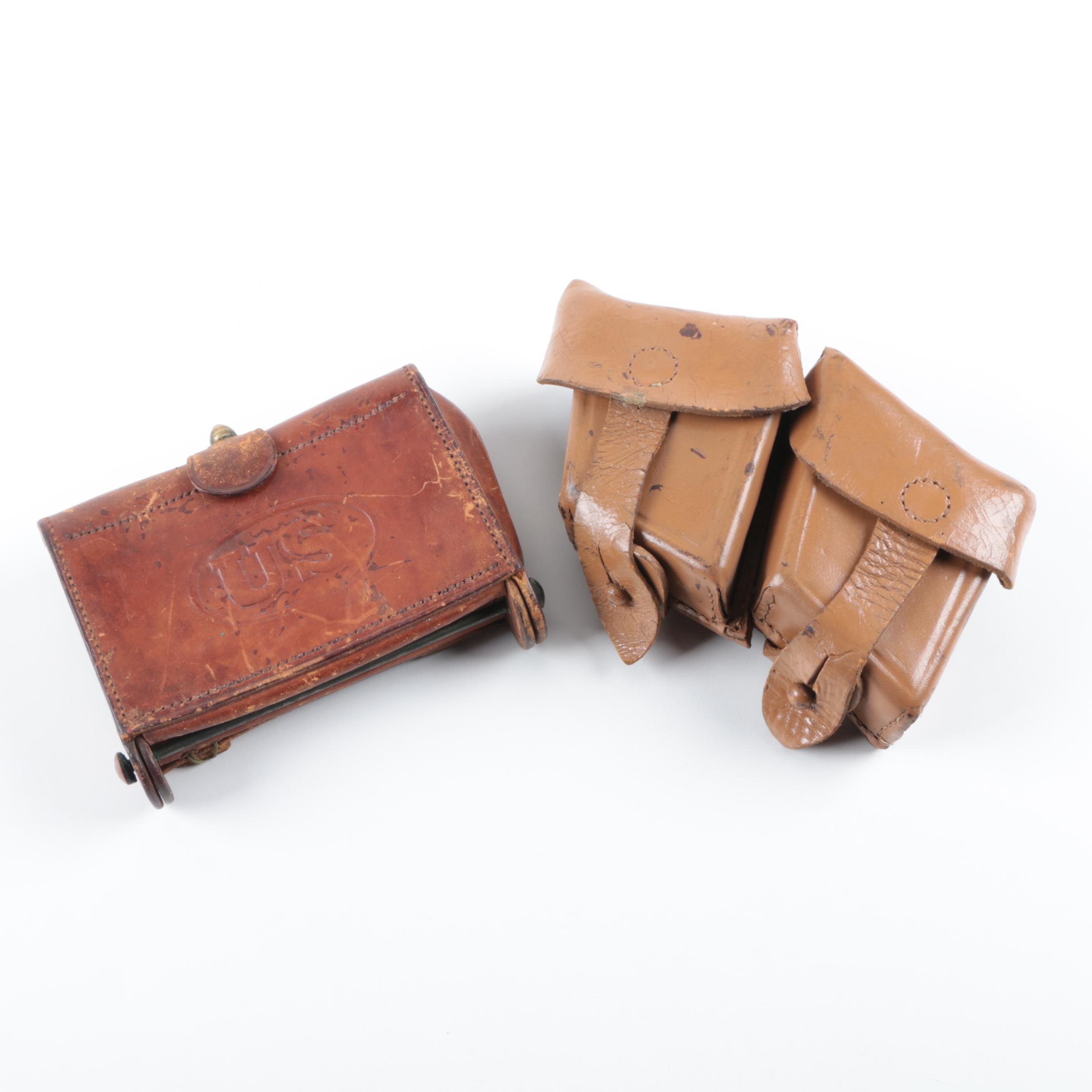 Vintage Leather Ammo Belt Pouches