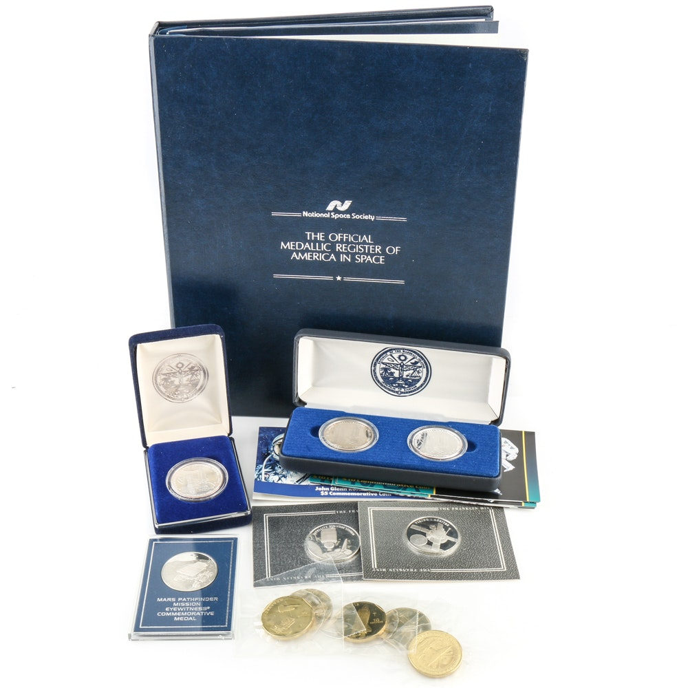 Assortment of Space-Related Commemorative Coins and Medals