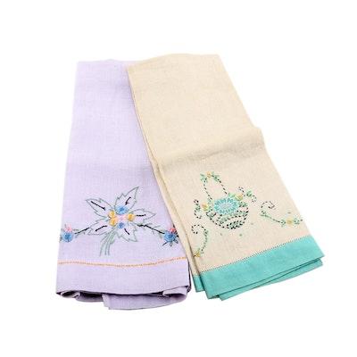 Hand Embroidery - Retro Birds Tea Towel