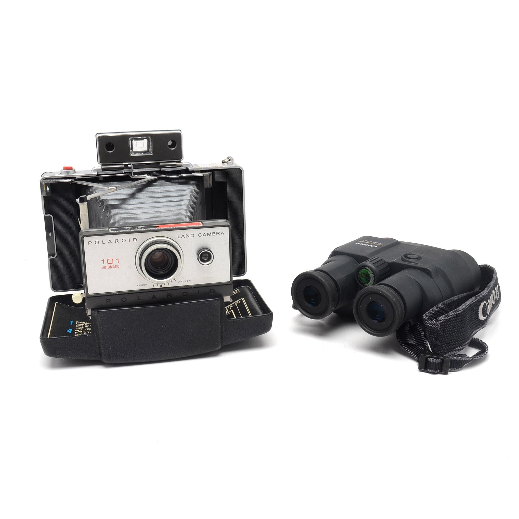 Vintage Polaroid and Binoculars