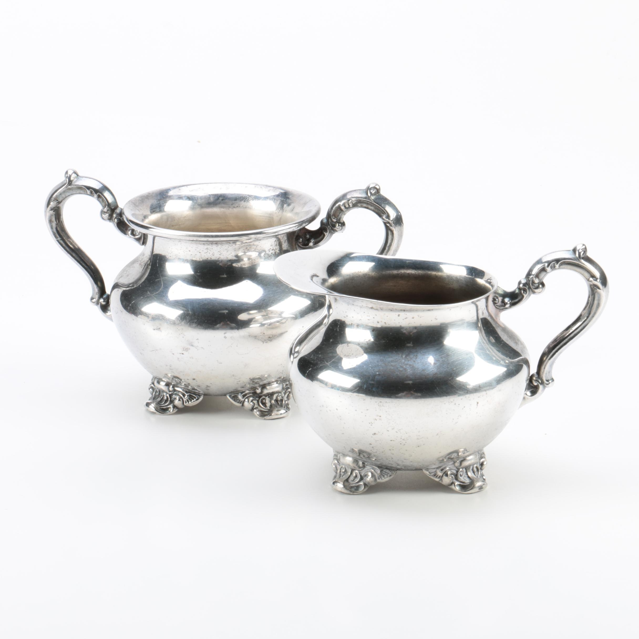 Poole Silver Co. Silver Plate Creamer and Sugar Bowl