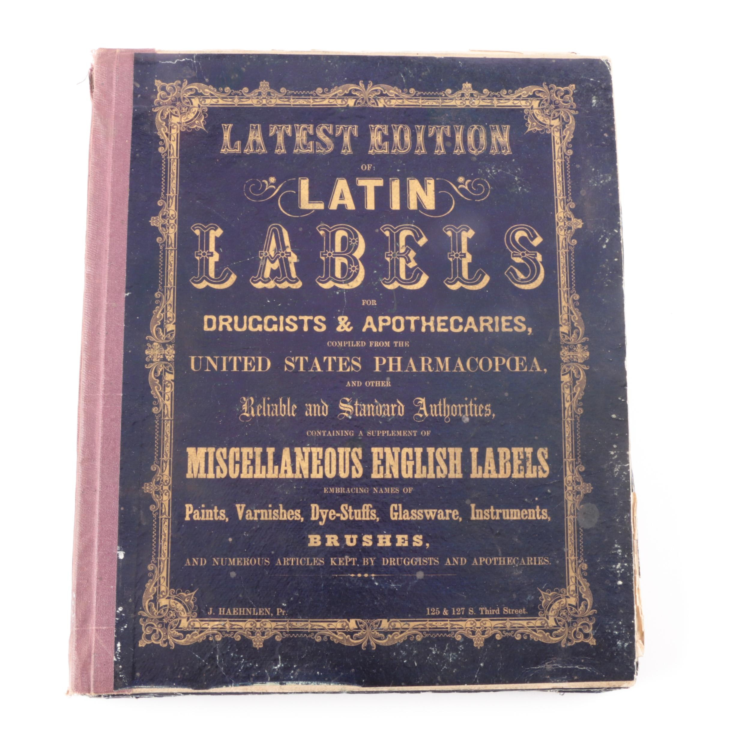 1859 Book of Apothecary Labels