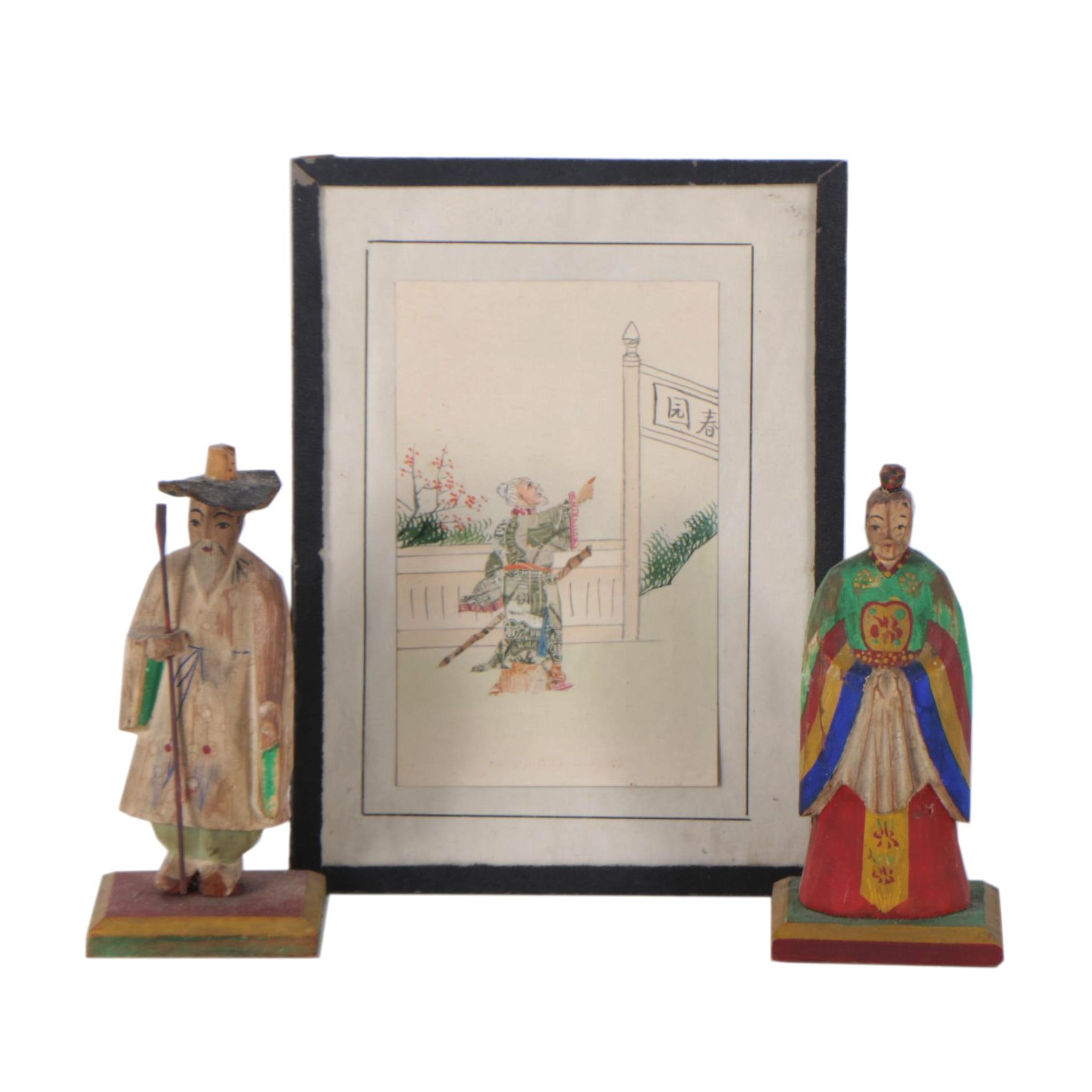 Japanese Mixed Media on Paper and Korean Carved Polychrome Figures