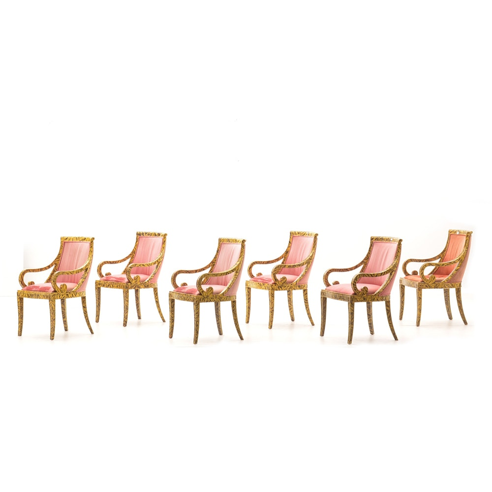 Six Hand-Painted Empire Style Armchairs