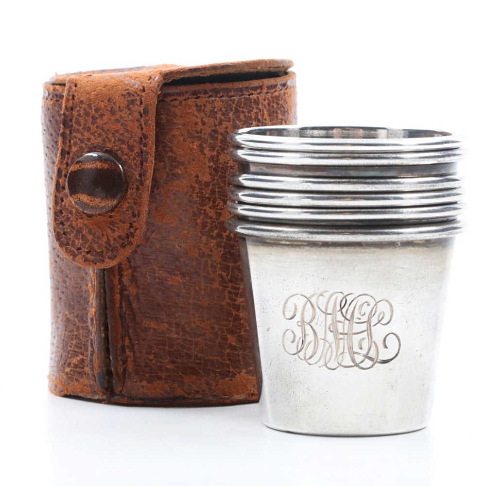Set of Six Sterling Silver Traveling Shot Glasses in Leather Case
