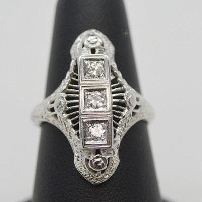 Late Edwardian 18K White Gold Old European Cut Diamond Dinner Ring
