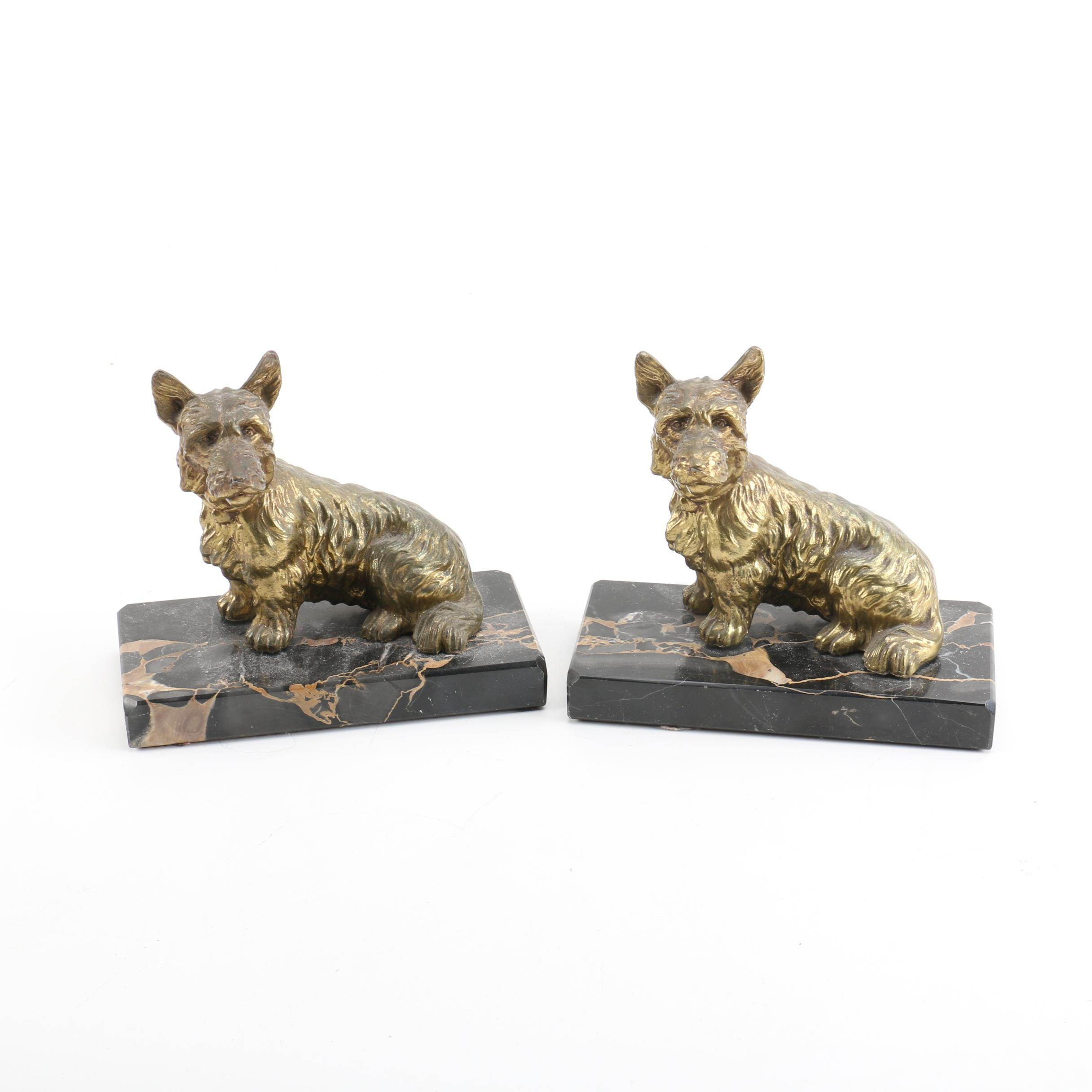 Vintage Brass and Marble Scottie Dog Bookends