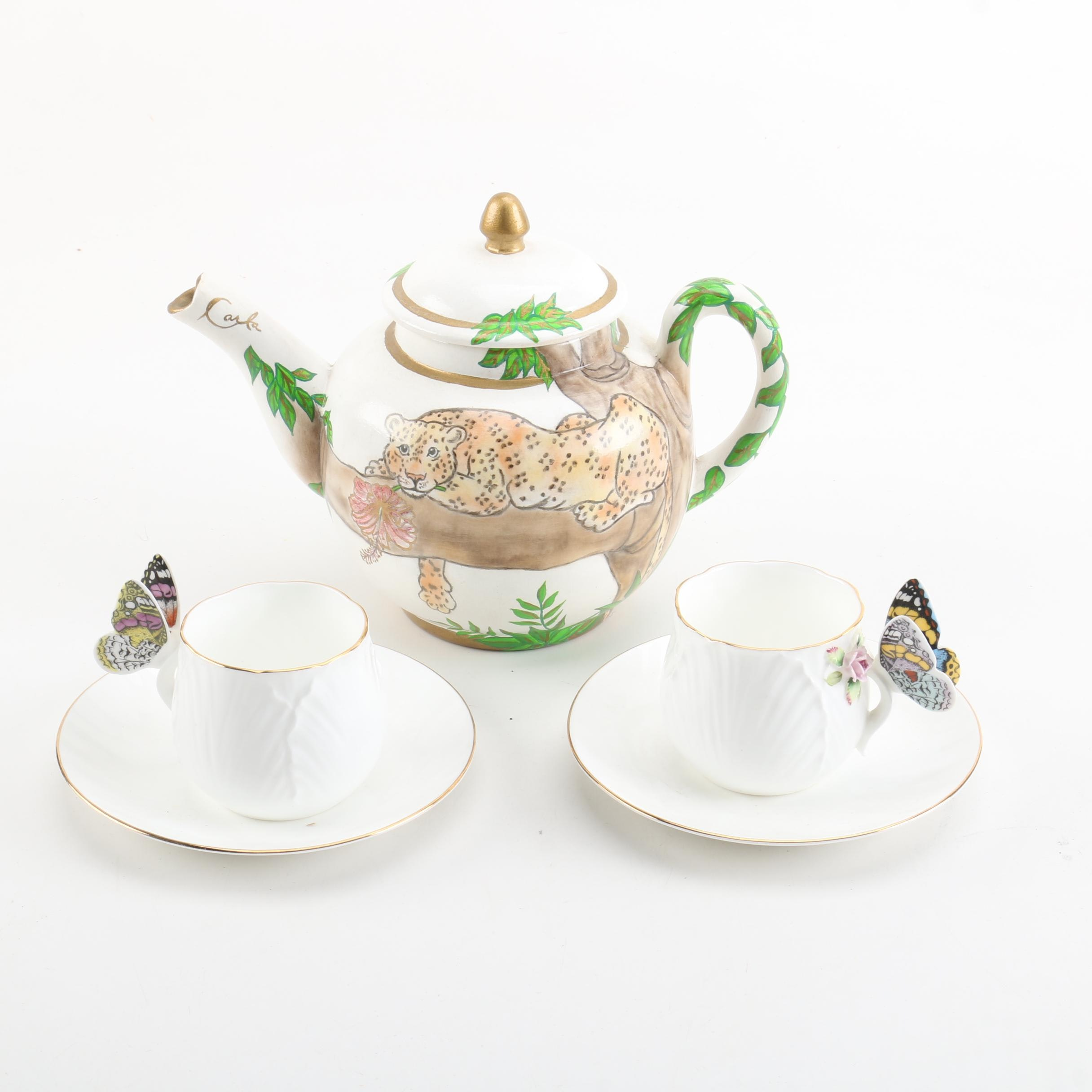 """Enesco """"Maruri Masterpiece"""" Teacups and Saucers with Hand Painted Teapot"""