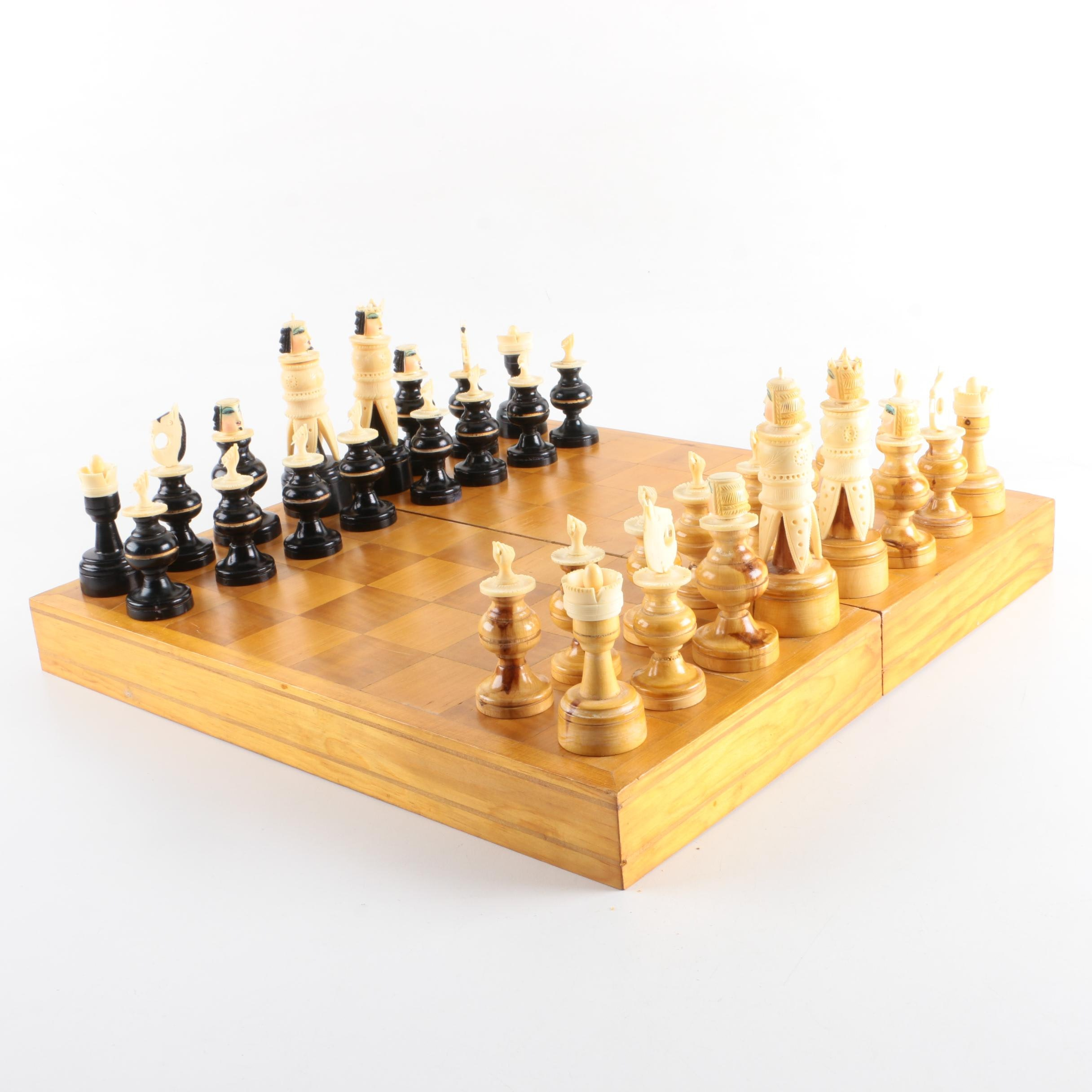 Wood and Bone Chess Set