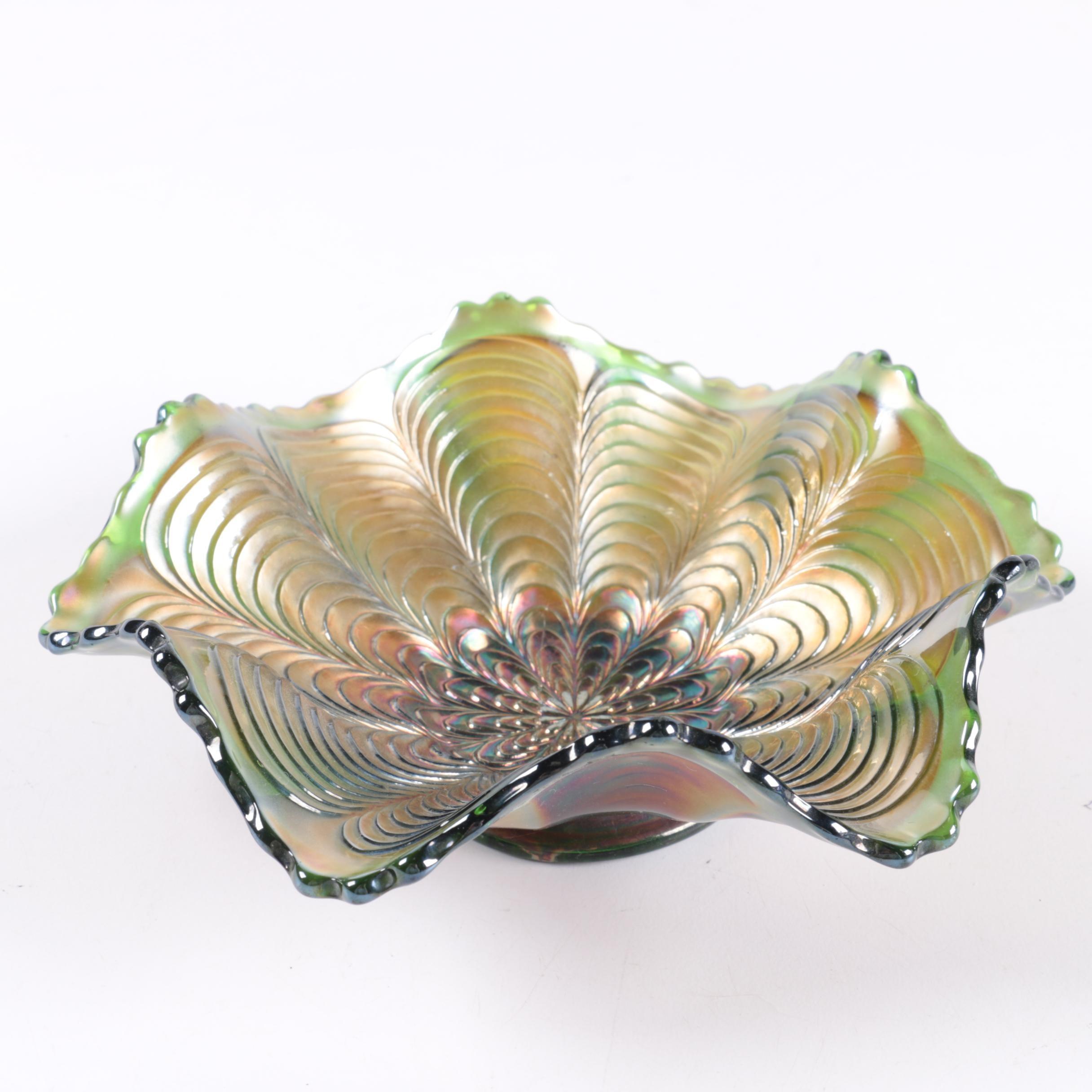 "Vintage Fenton ""Peacock Tail"" Carnival Glass Bowl"